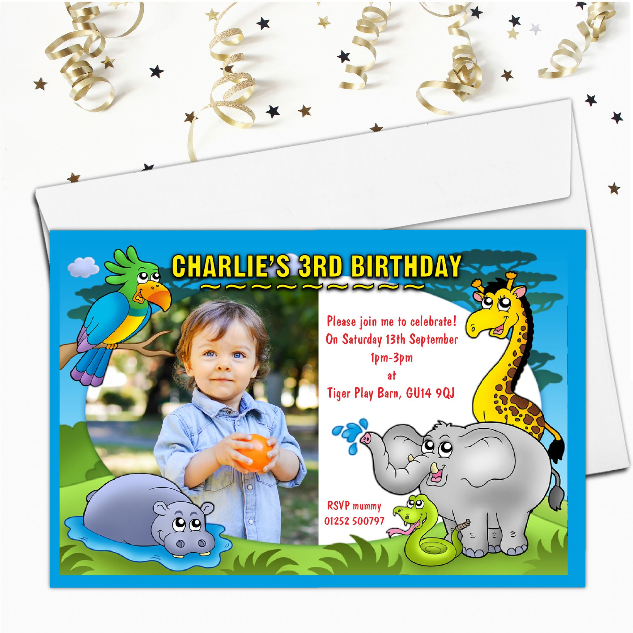 10 Personalised Jungle Birthday Party Photo Invitations N16