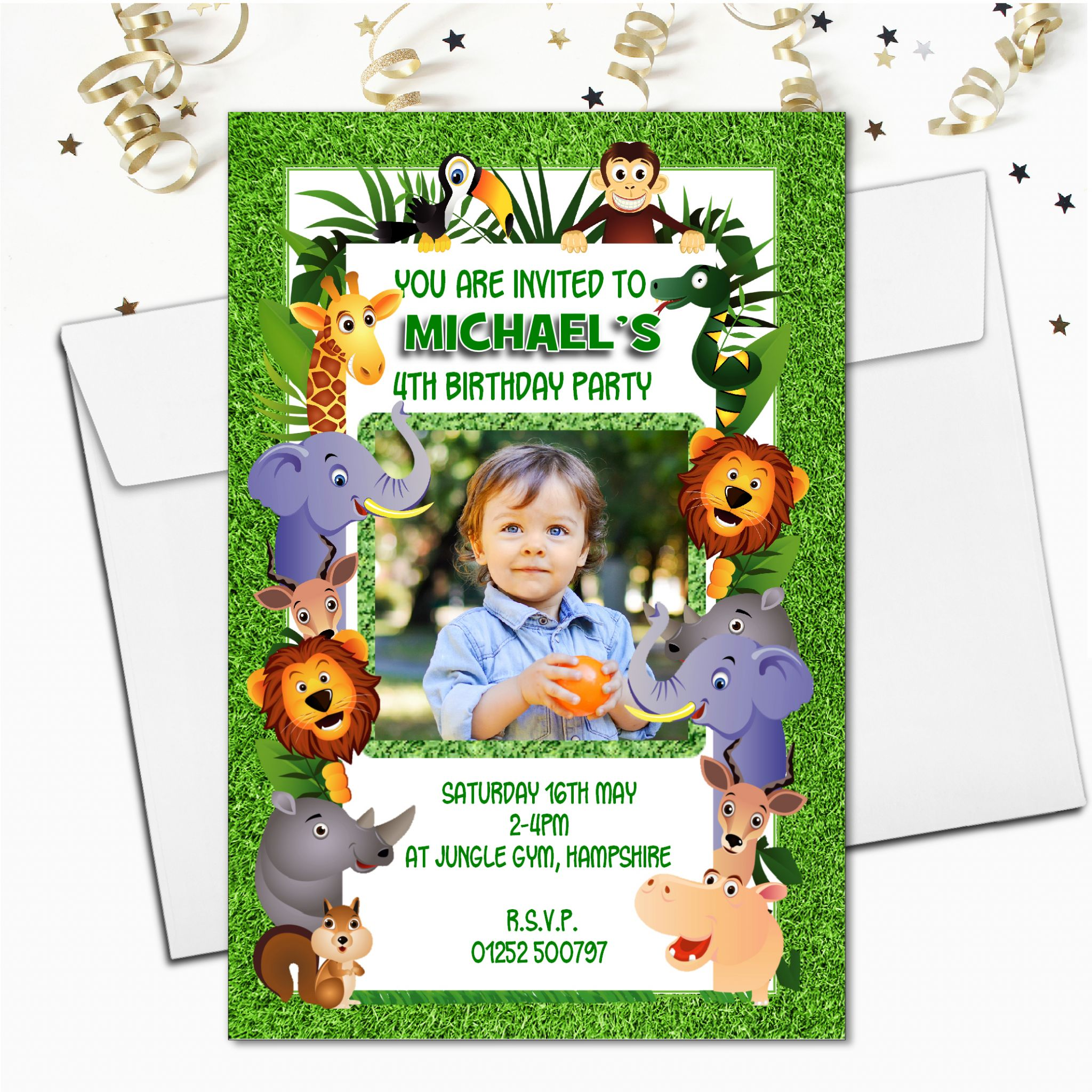 10 Personalised Jungle Birthday Party Photo Invitations N57