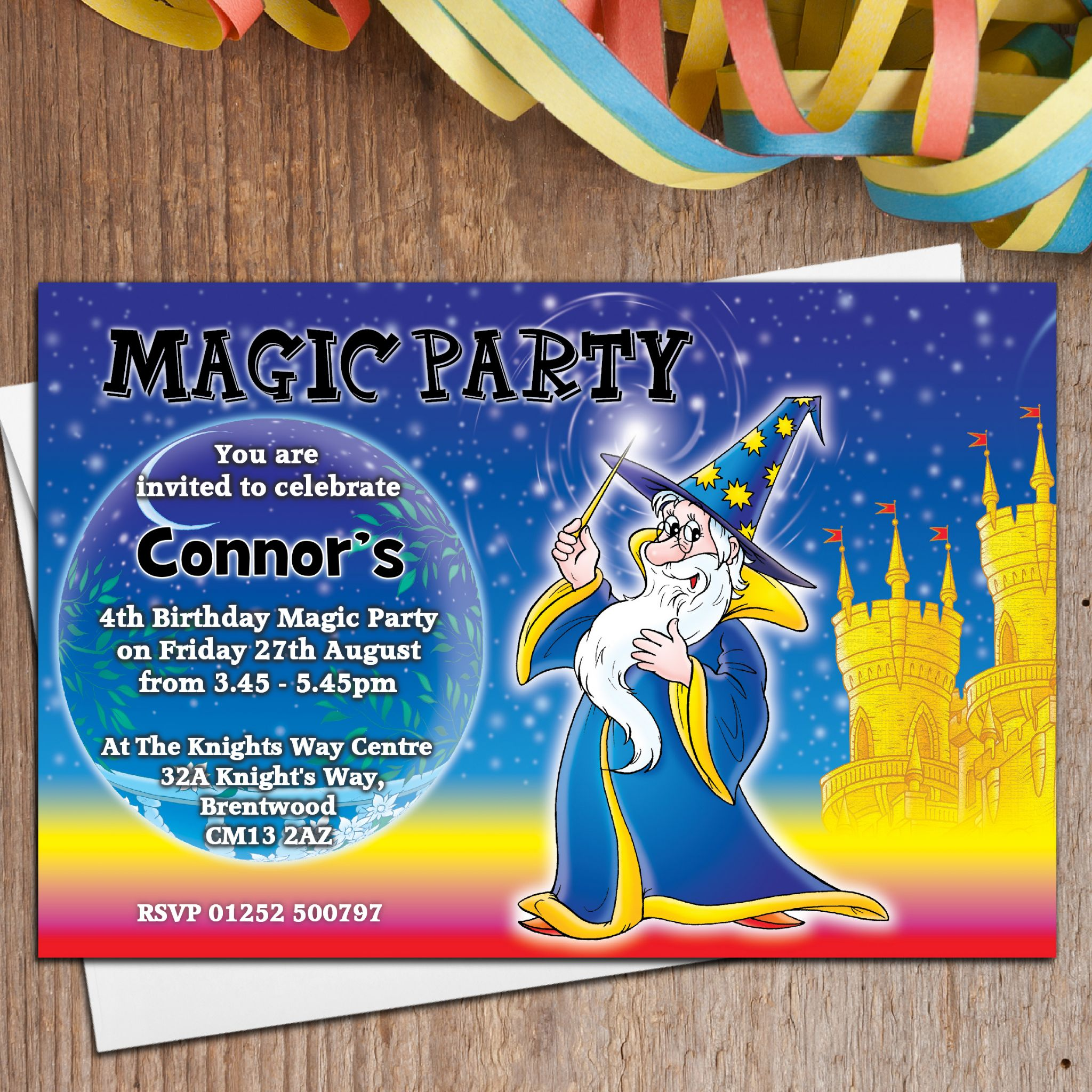 10 Personalised Magic Magician Birthday Party Invitations N1 – Magic Party Invitations