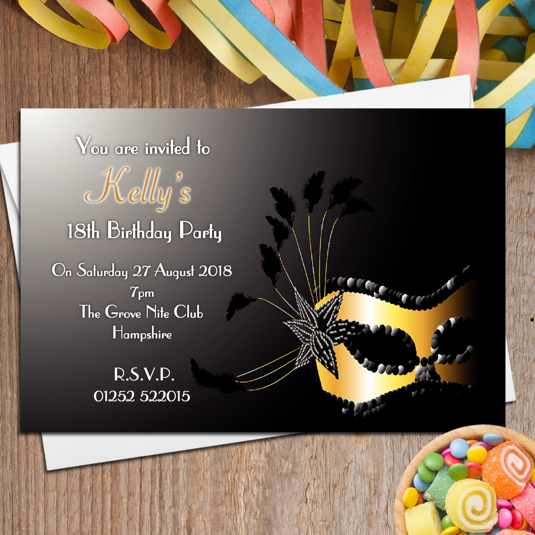 10 Personalised Masquerade Mask Party Invitations N94 4674 P