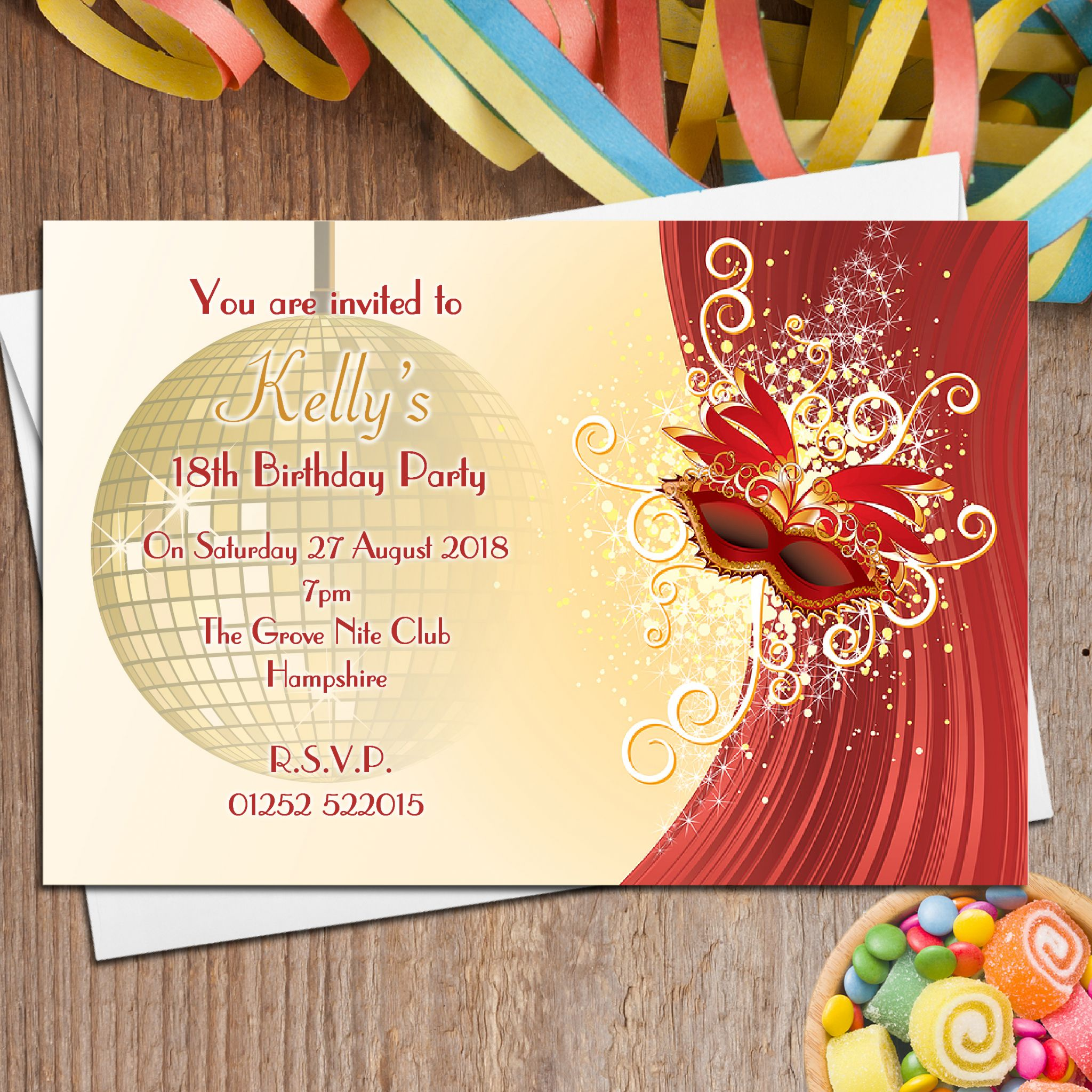 Personalised Adult & Tennager Birthday Party Invitations