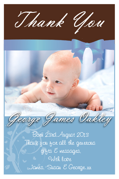 10 Personalised New Baby Boy Thank you PHOTO Cards N169