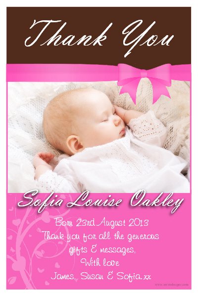 10 Personalised New Baby Thank you PHOTO Cards N168