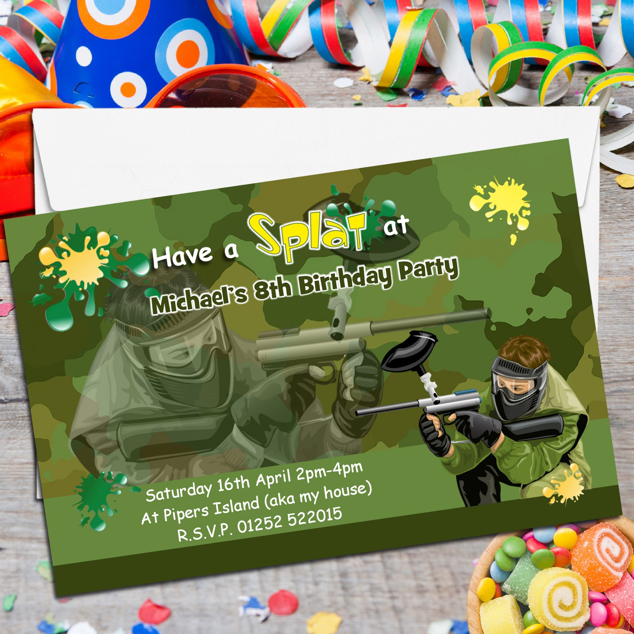 10 Personalised Paint Ball Birthday Party Invitations N117