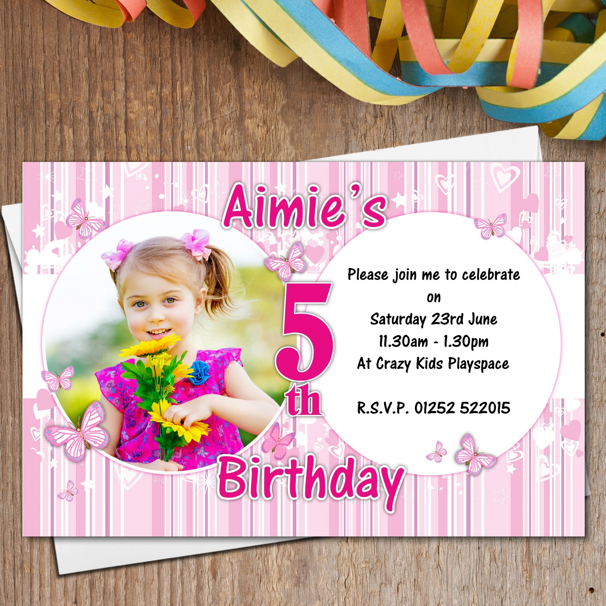 10 Personalised Pink Butterfly Birthday Party Photo Invitations N168