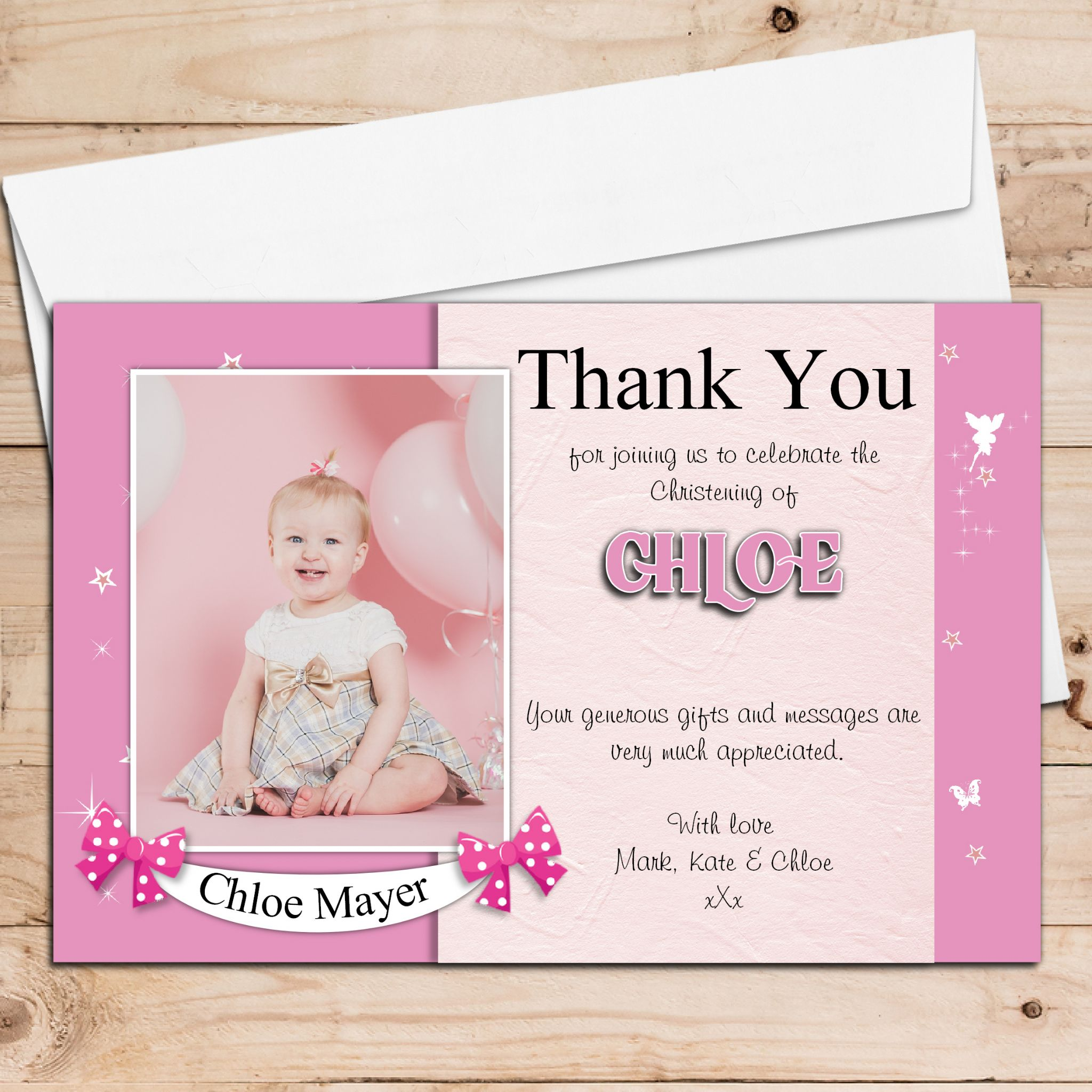 10 Personalised Pink fairy sparkle Thank you PHOTO Cards N195