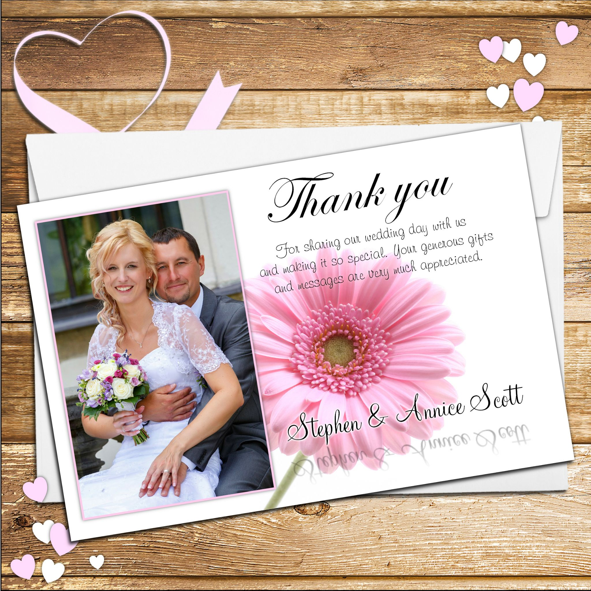 Thank You Wedding: 10 Personalised Pink Gerbera Wedding Thank You Photo Cards N40