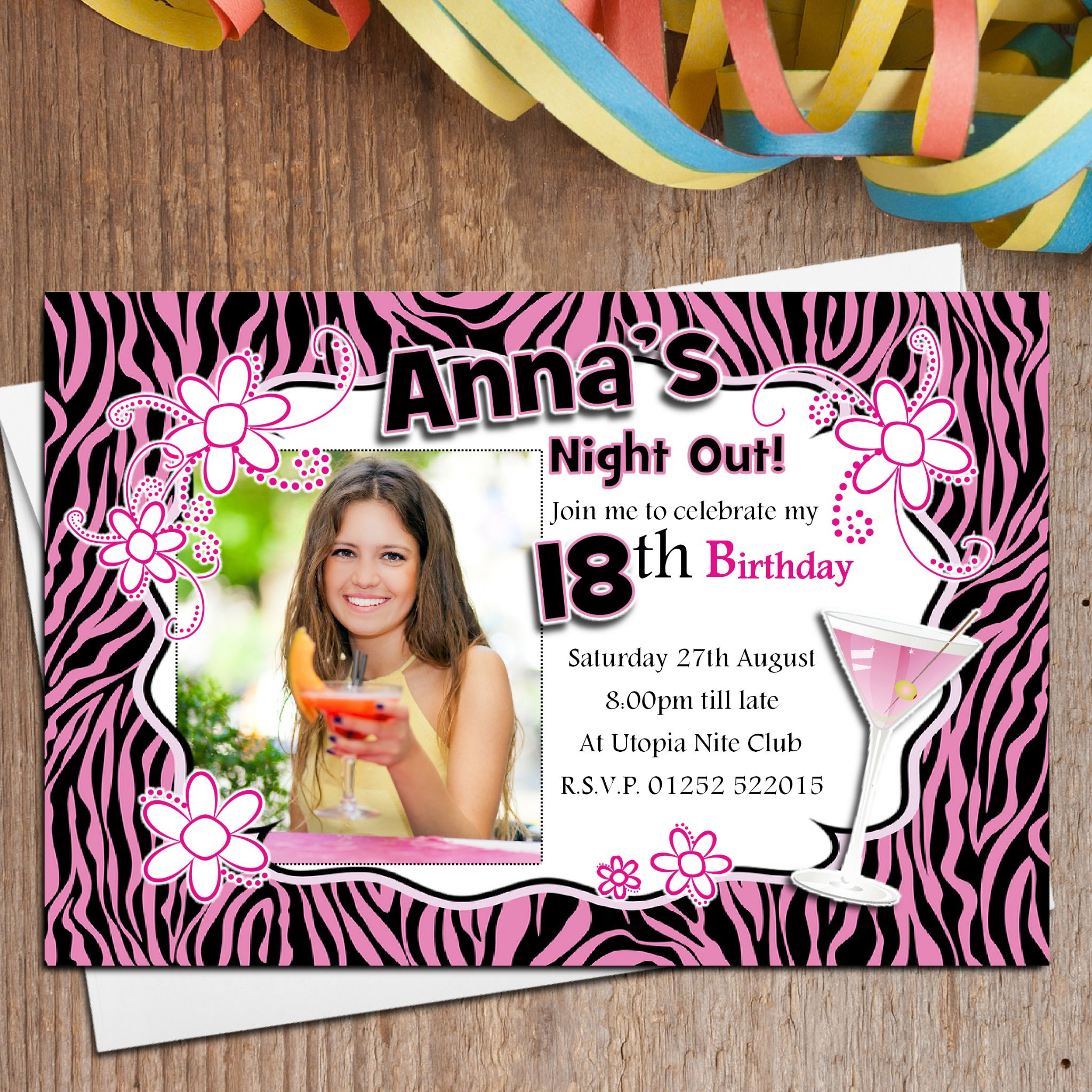 10 Personalised Pink Glamour Birthday Party PHOTO Invitations N150