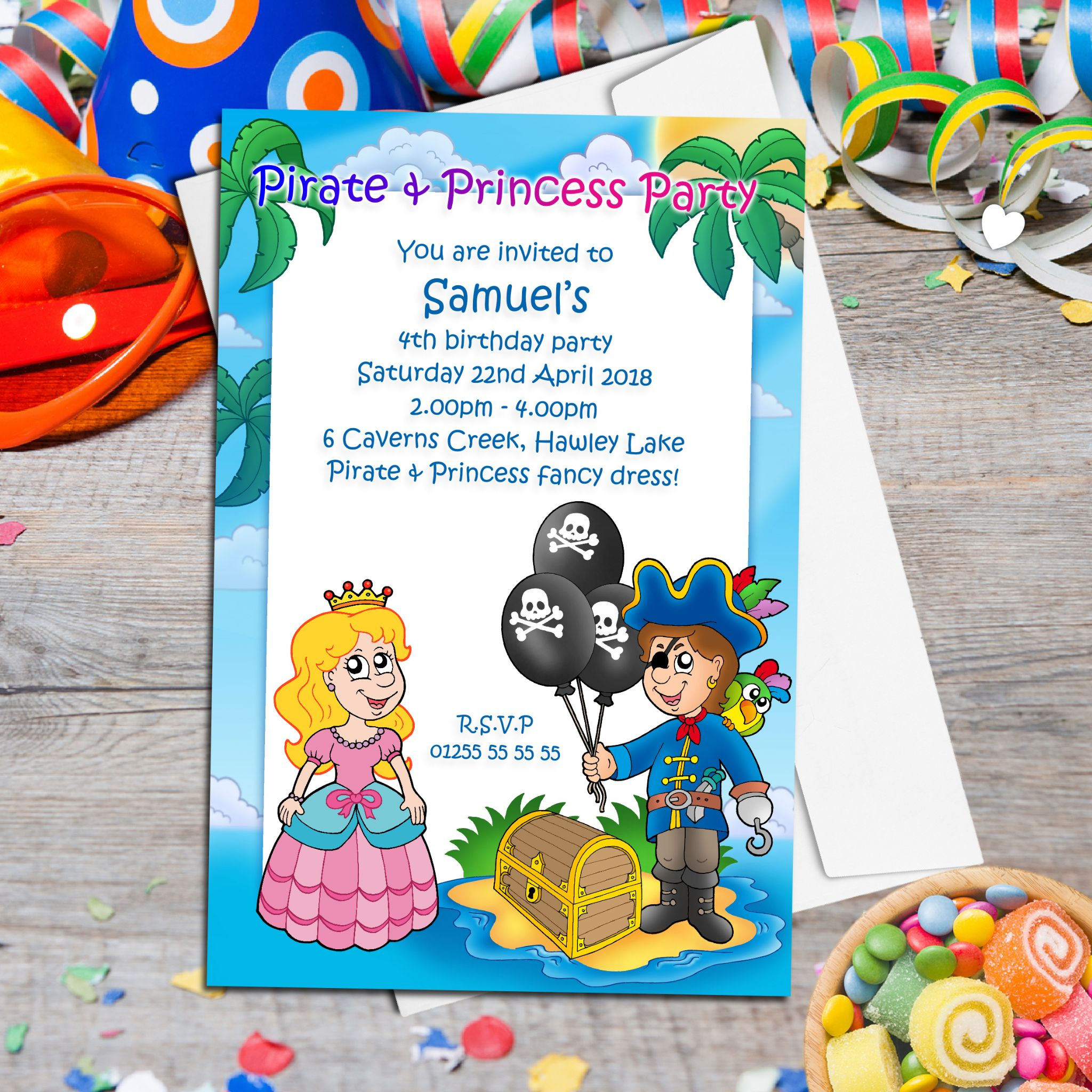 10 Personalised Pirate and Princess Birthday Party Invitations N22
