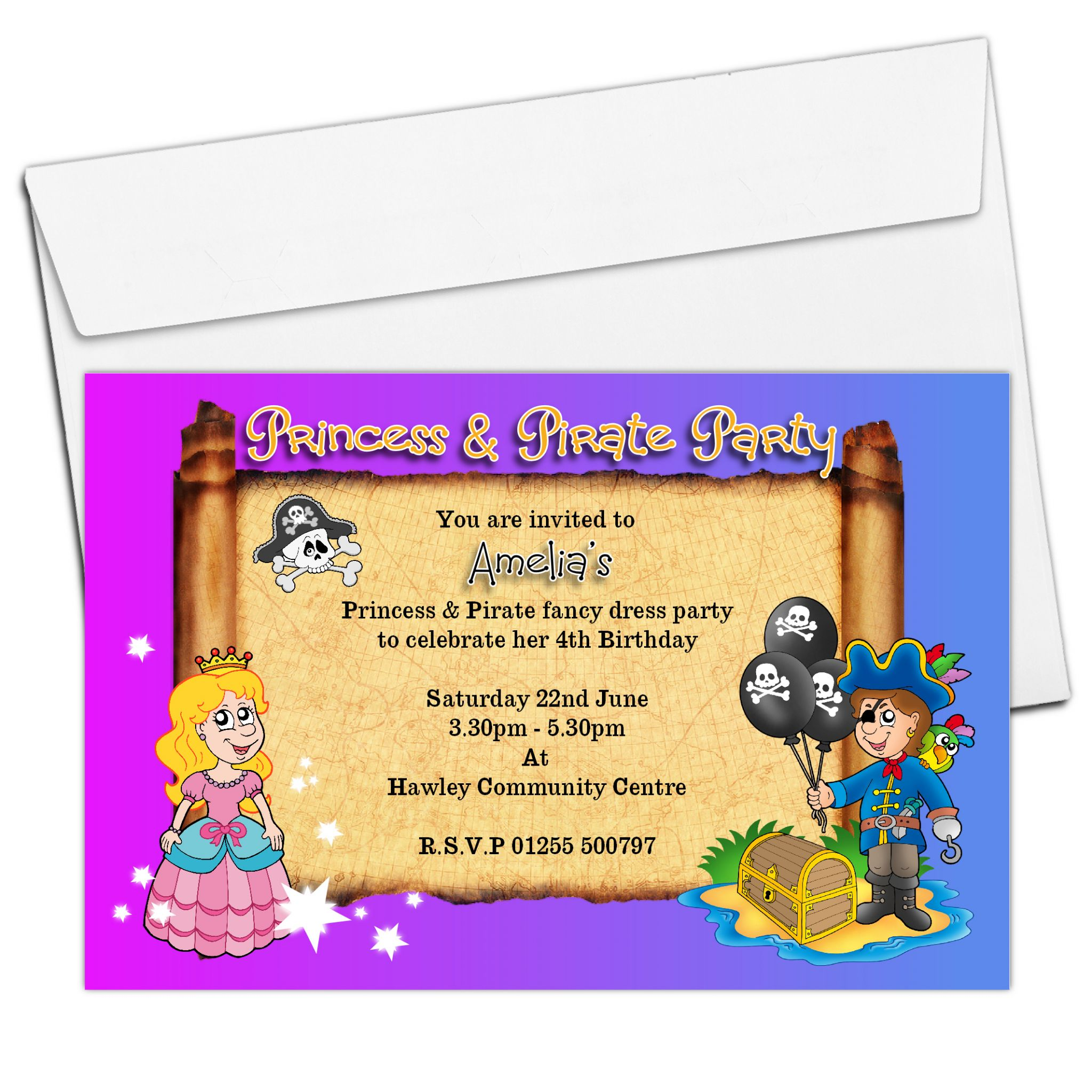 10 Personalised Pirate and Princess Birthday Party Invitations N23