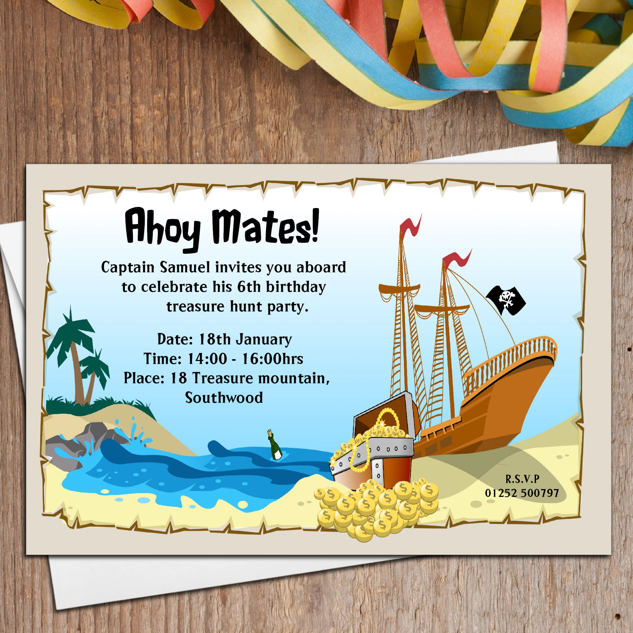 10 Personalised Pirate Shipwreck Party Invitations Invites N4 – Treasure Hunt Party Invitations