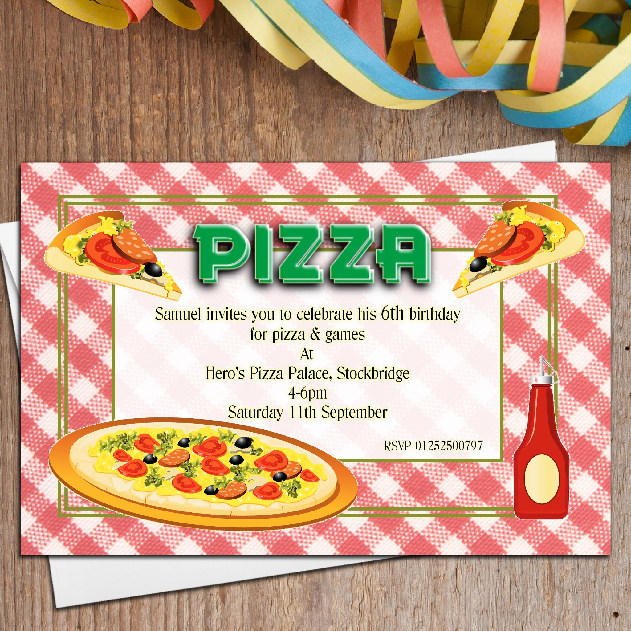 10 personalised pizza birthday party invitations n1 stopboris Choice Image