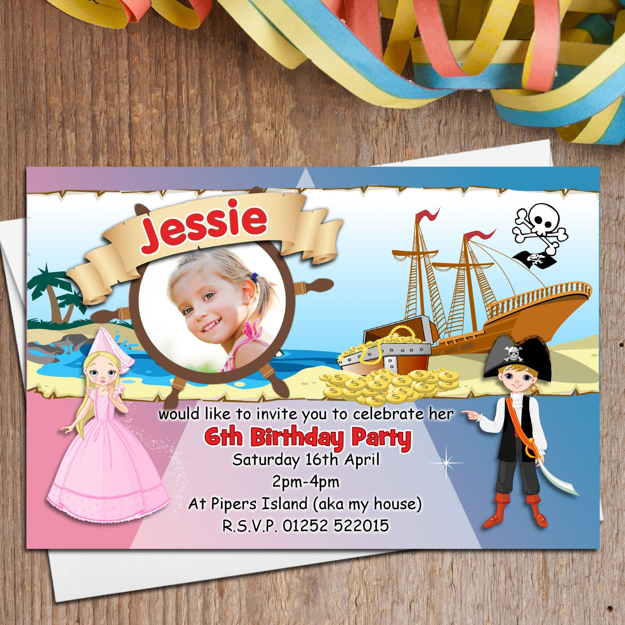 10 Personalised Princess and Pirate Birthday Party PHOTO Invitations ...