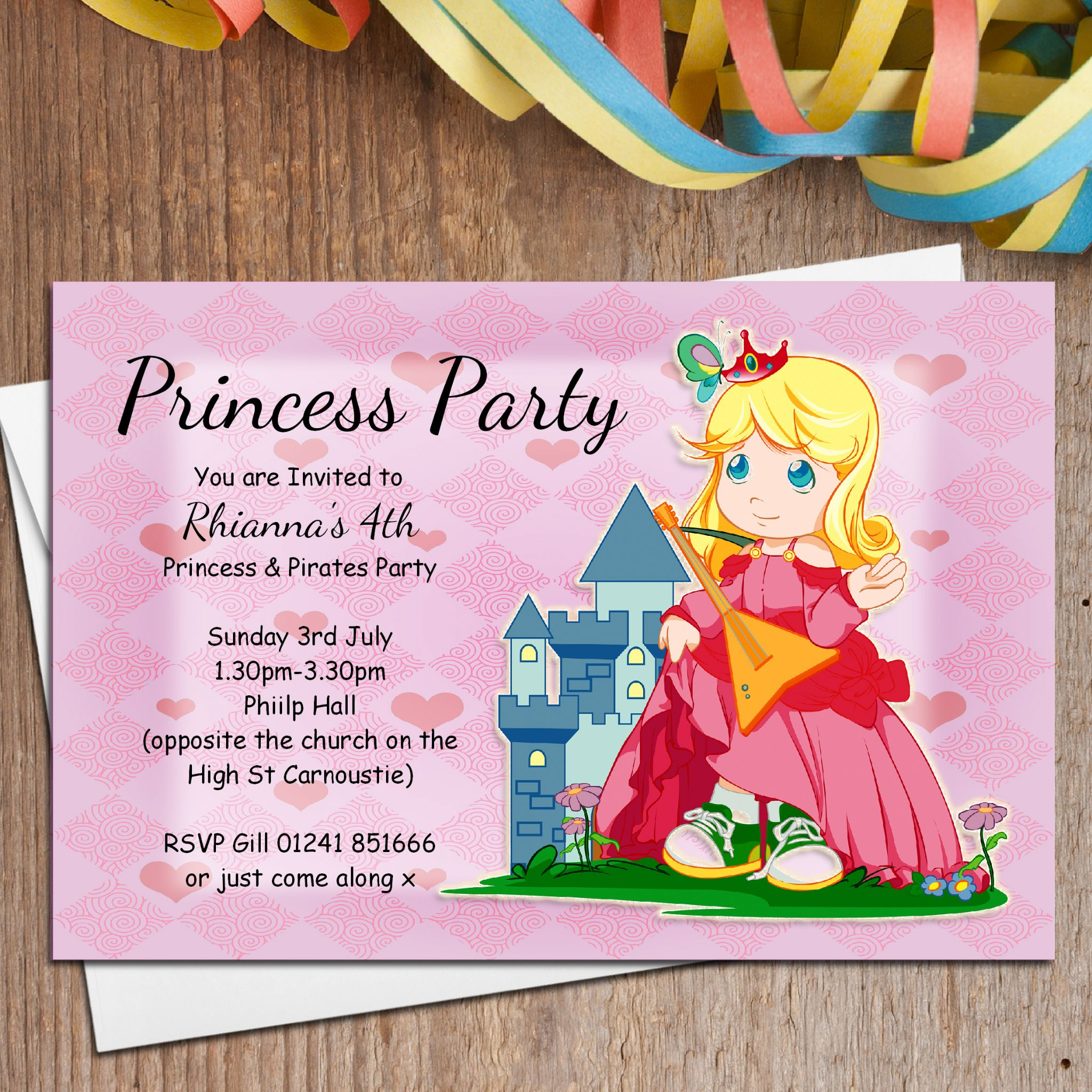 10 Personalised Princess Birthday Party Invitations – Princess and Pirates Party Invitations