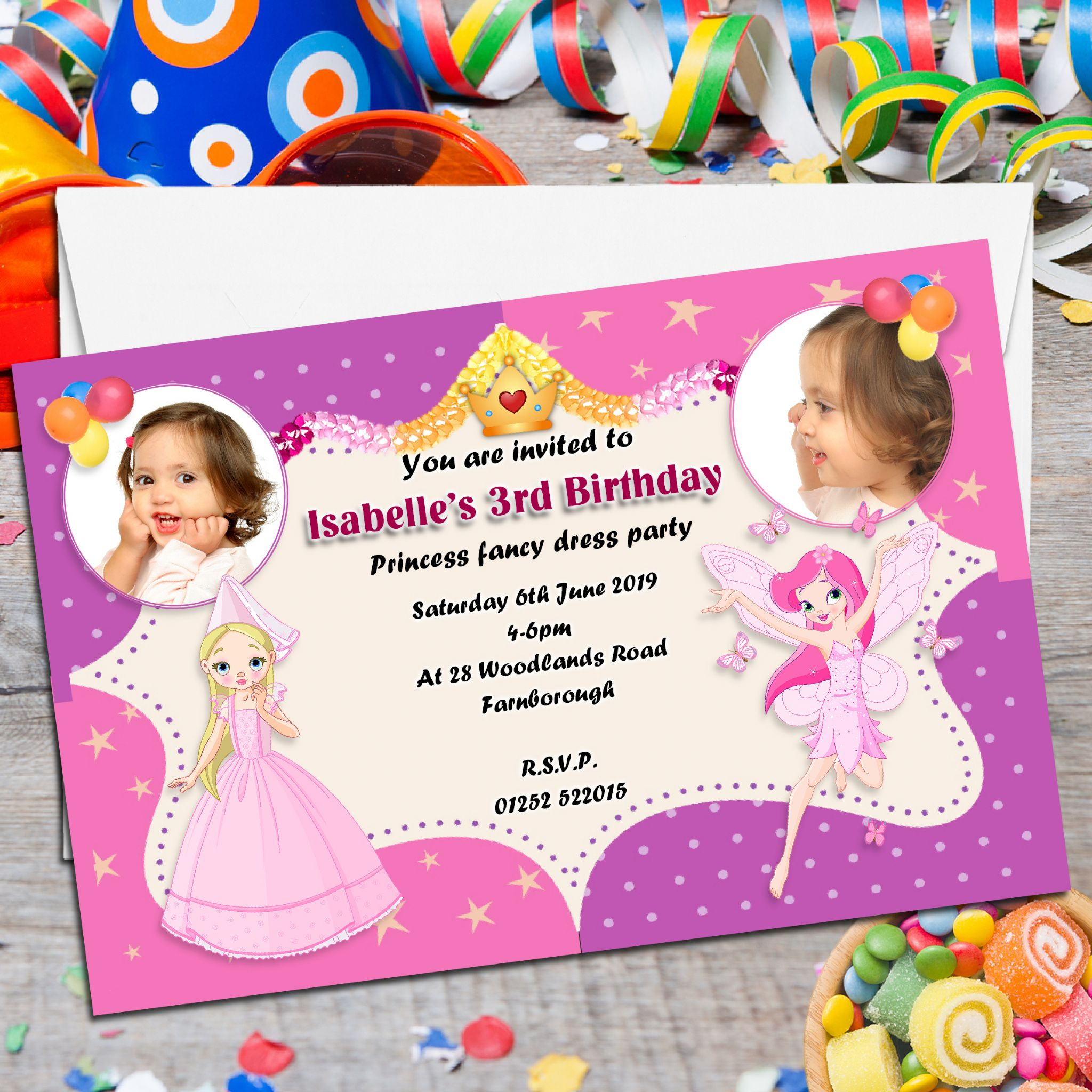 10 Personalised Princess & Fairies Birthday Party PHOTO Invitations N89