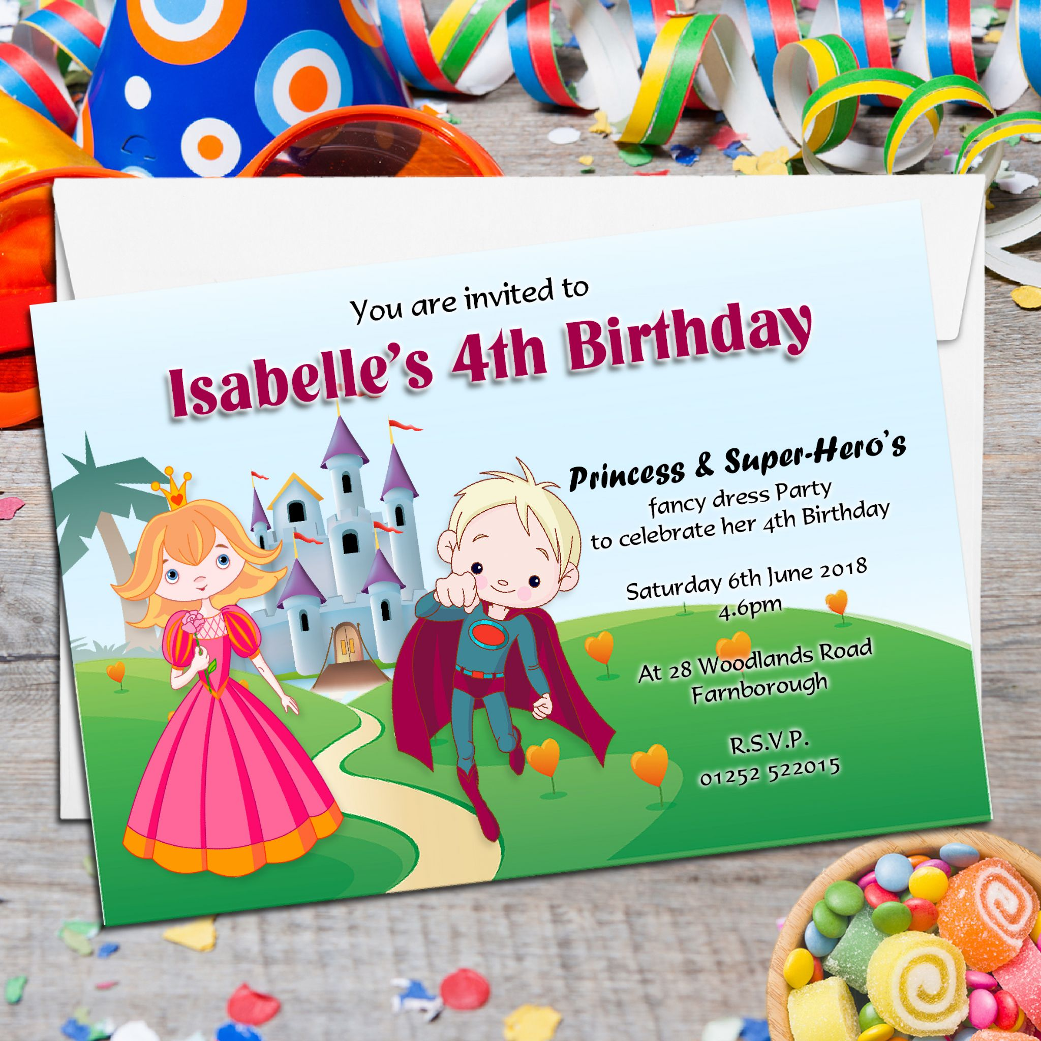 10 Personalised Princess Super Hero S Birthday Party Invitations N85