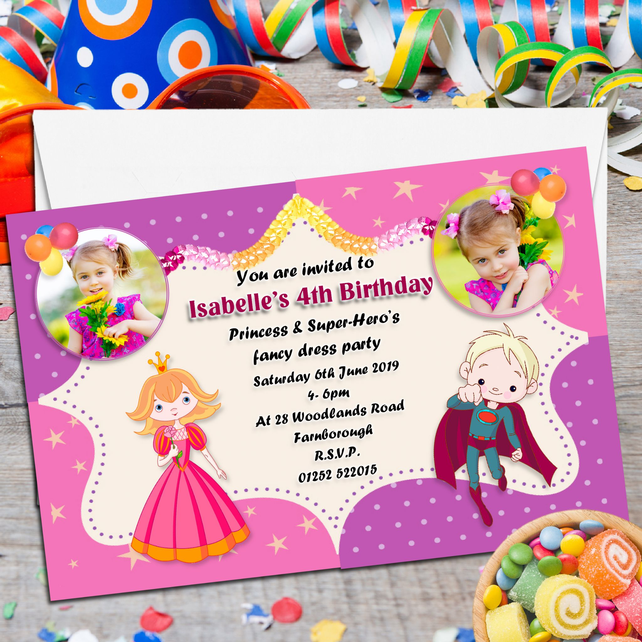 10 Personalised Princess Super Hero s Birthday Party PHOTO – Personalised Party Invites