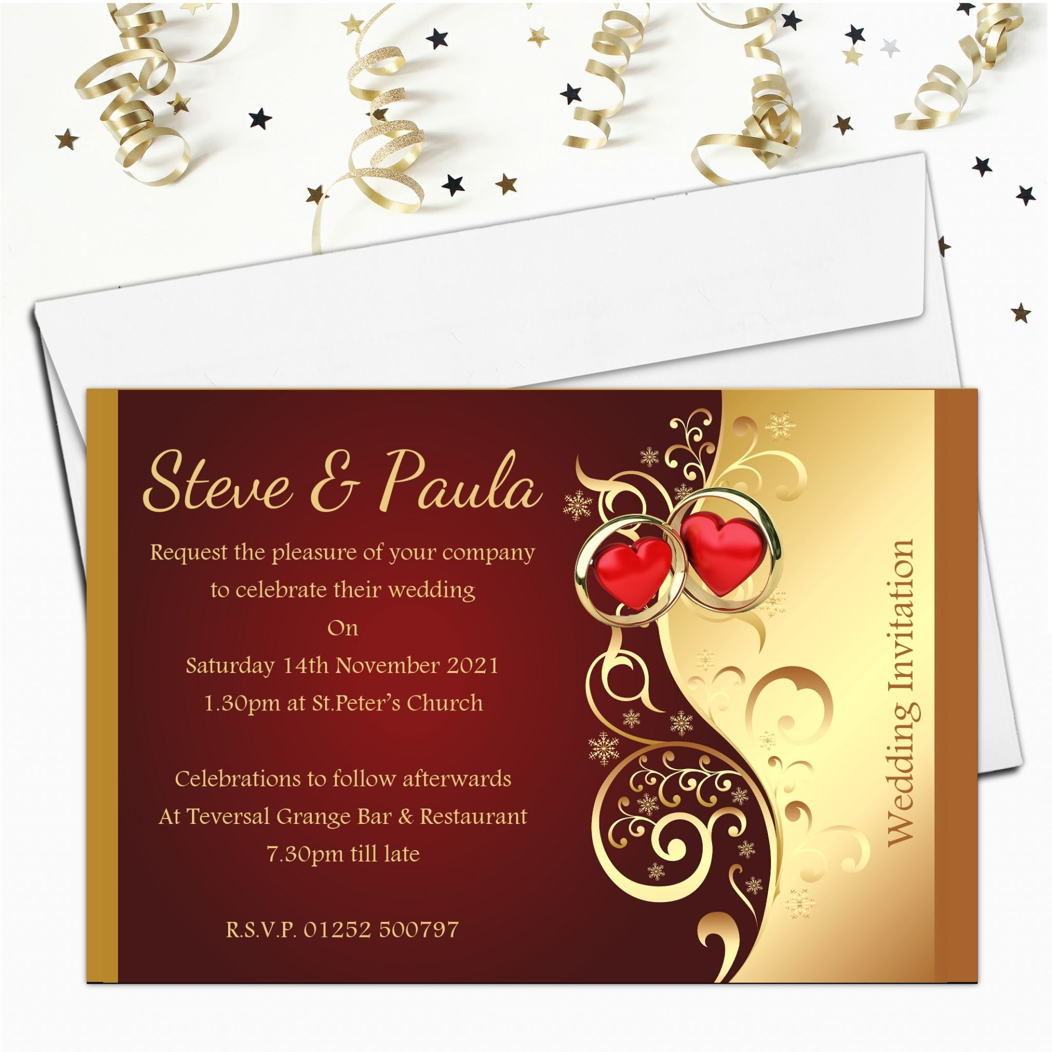 Gold Wedding Invitations.10 Personalised Red Gold Wedding Invitations Day Evening N25