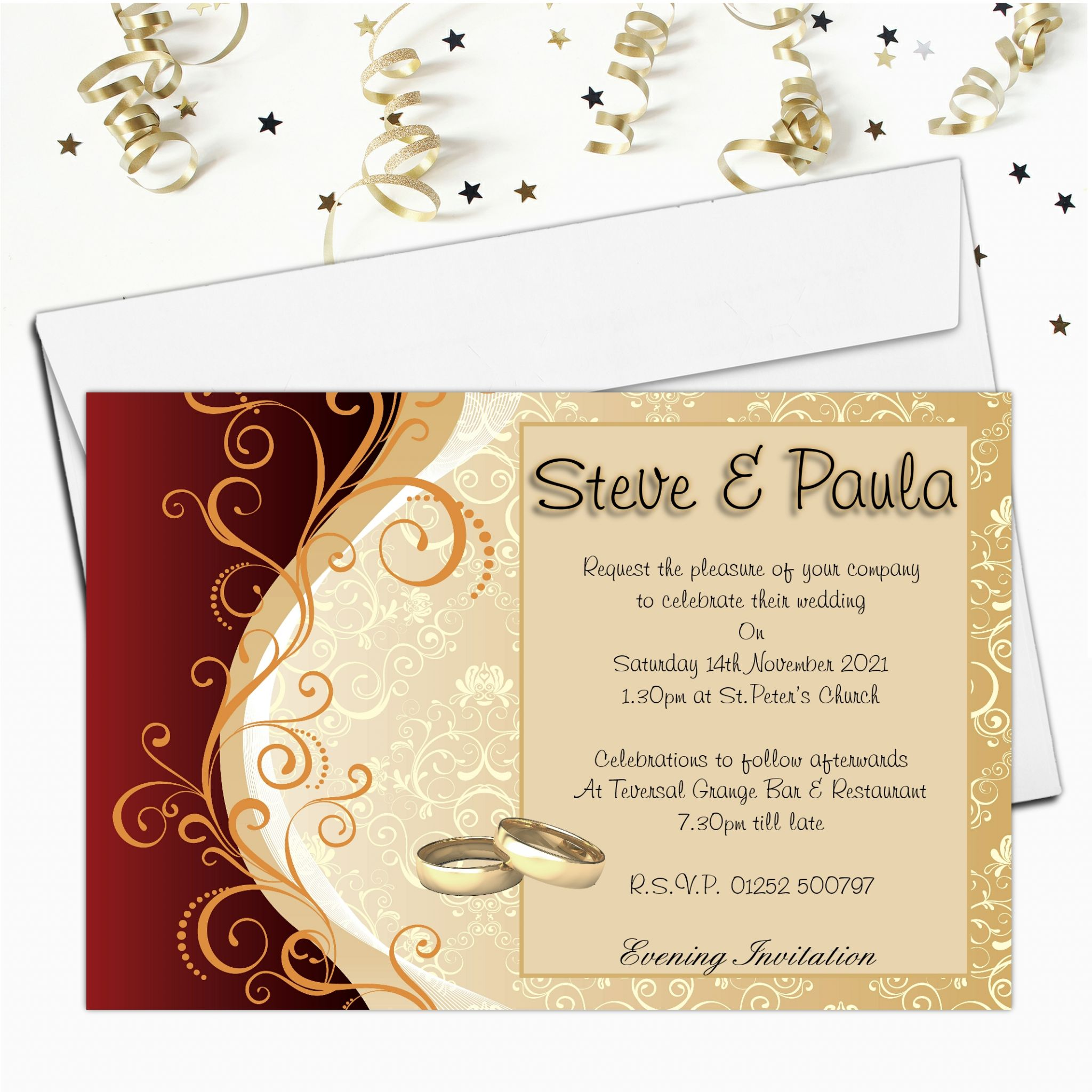 Gold Wedding Invitations.10 Personalised Red Gold Wedding Invitations Day Evening N33