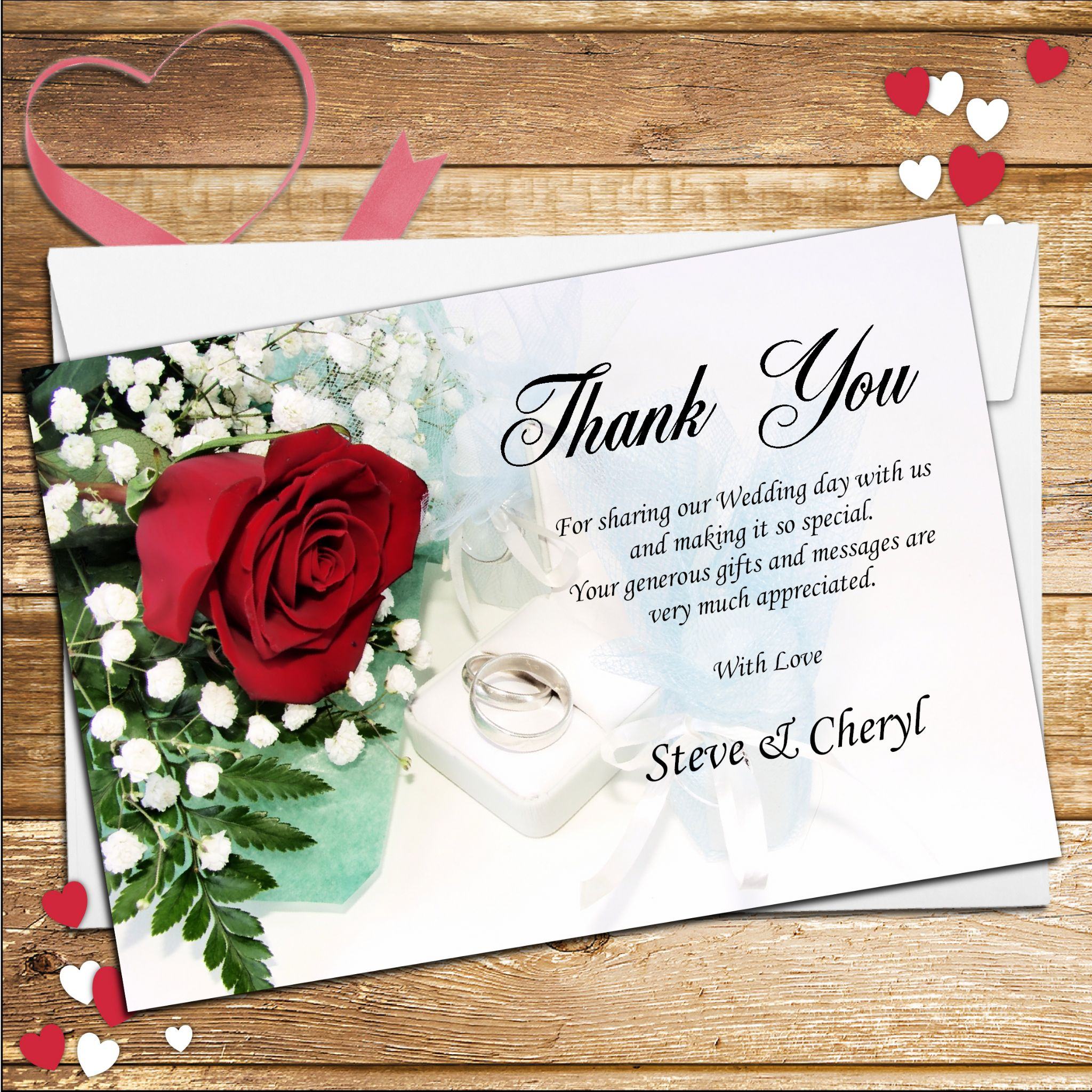 10 Personalised Red Rose Wedding Day Thank You Cards N120