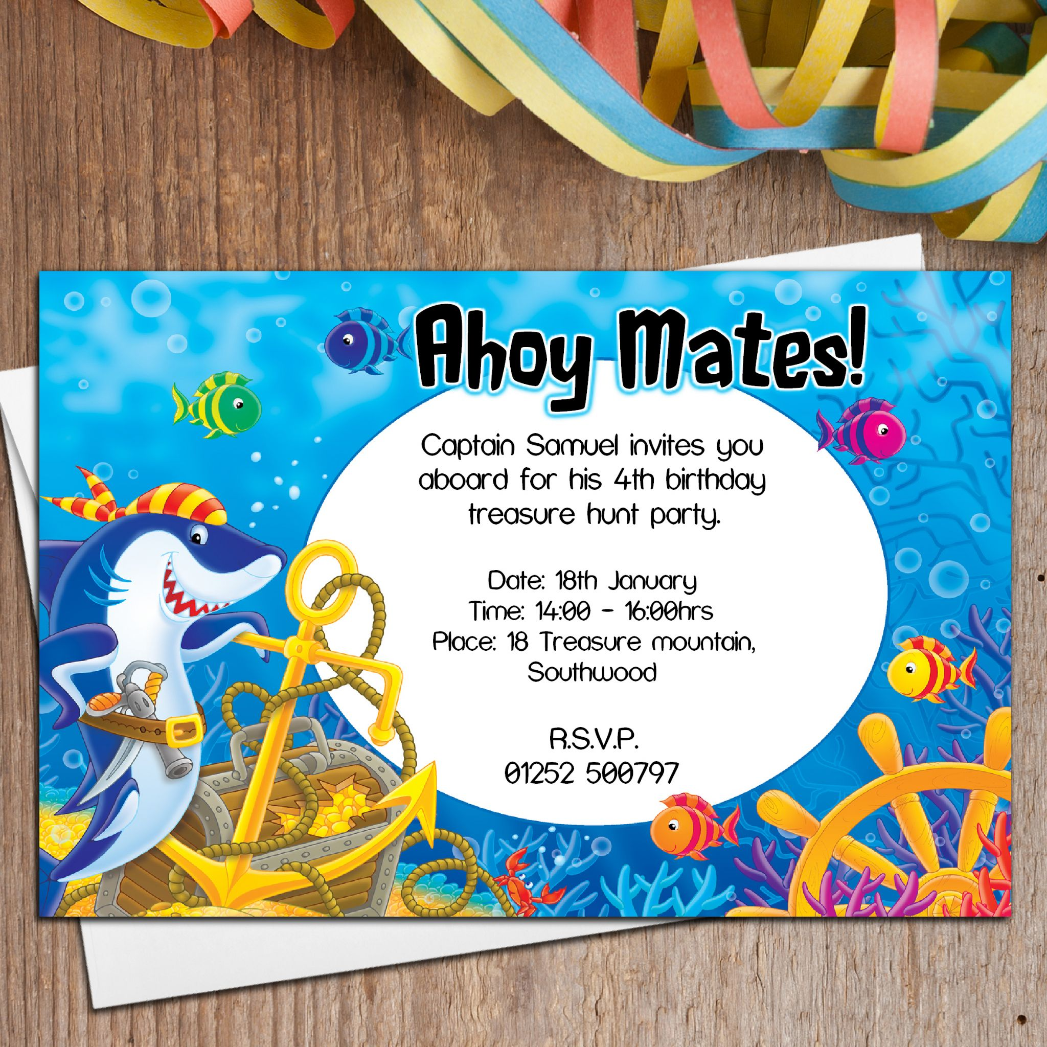 10 Personalised Sea Pirate Birthday Party Invitations N5