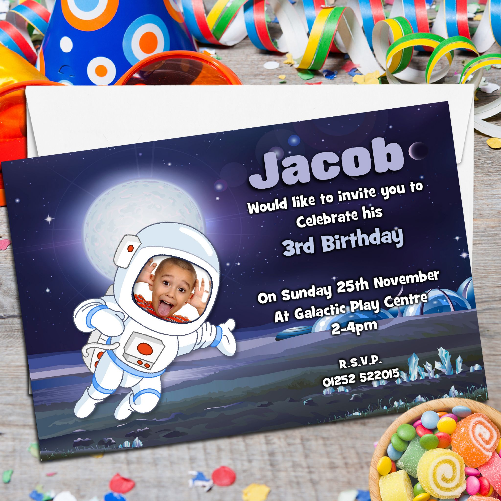 10 Personalised Space Astronaut Galaxy Birthday Party ...