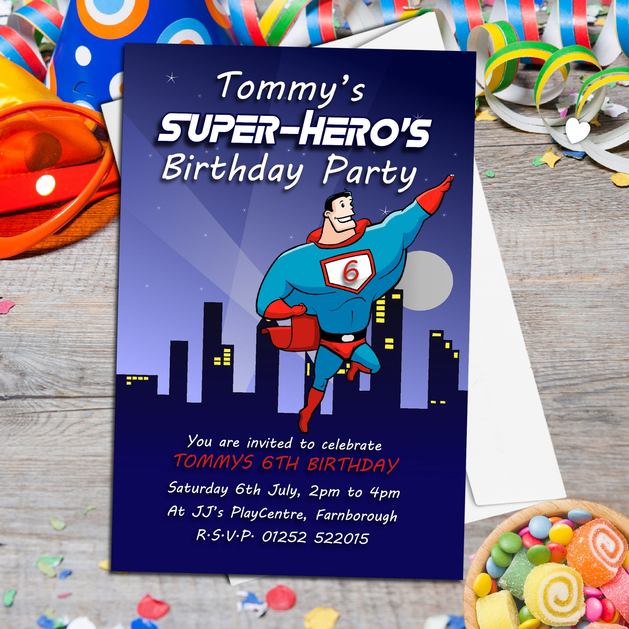 10 Personalised Super Hero Birthday Party Invitations N134