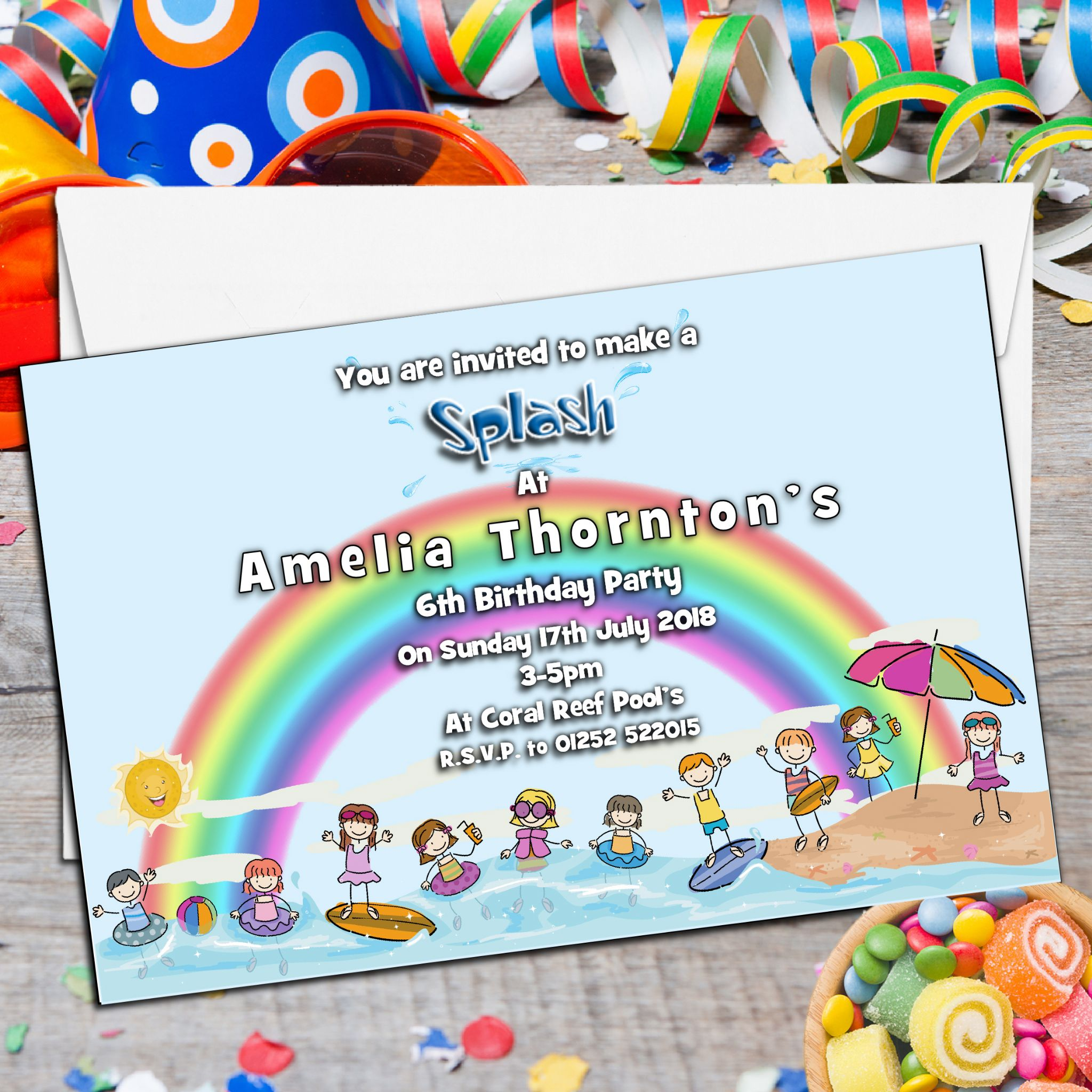 10 Personalised Swimming Pool Party Invitations N66