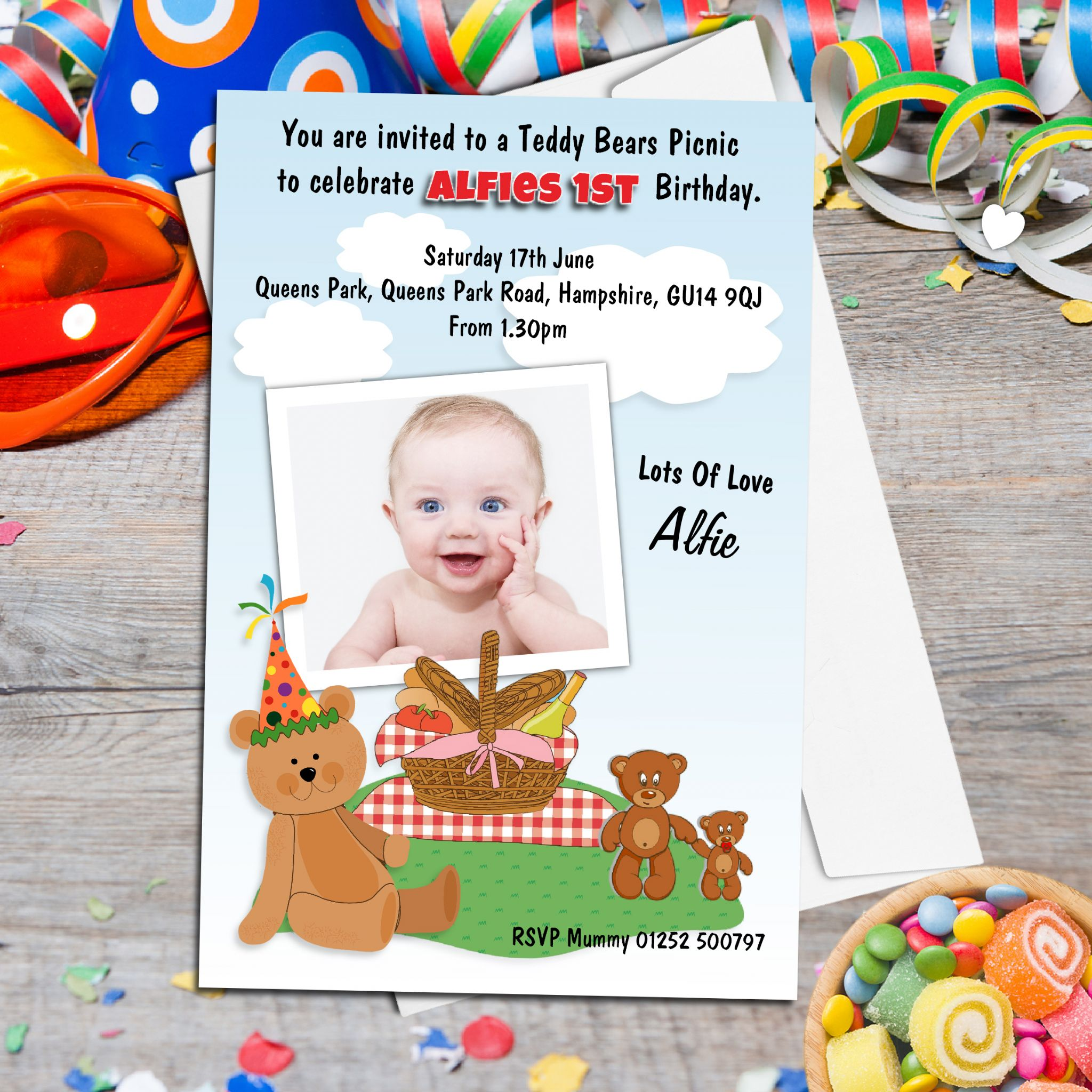 10 Personalised Teddy Bears Picnic Birthday Party PHOTO Invitations N102