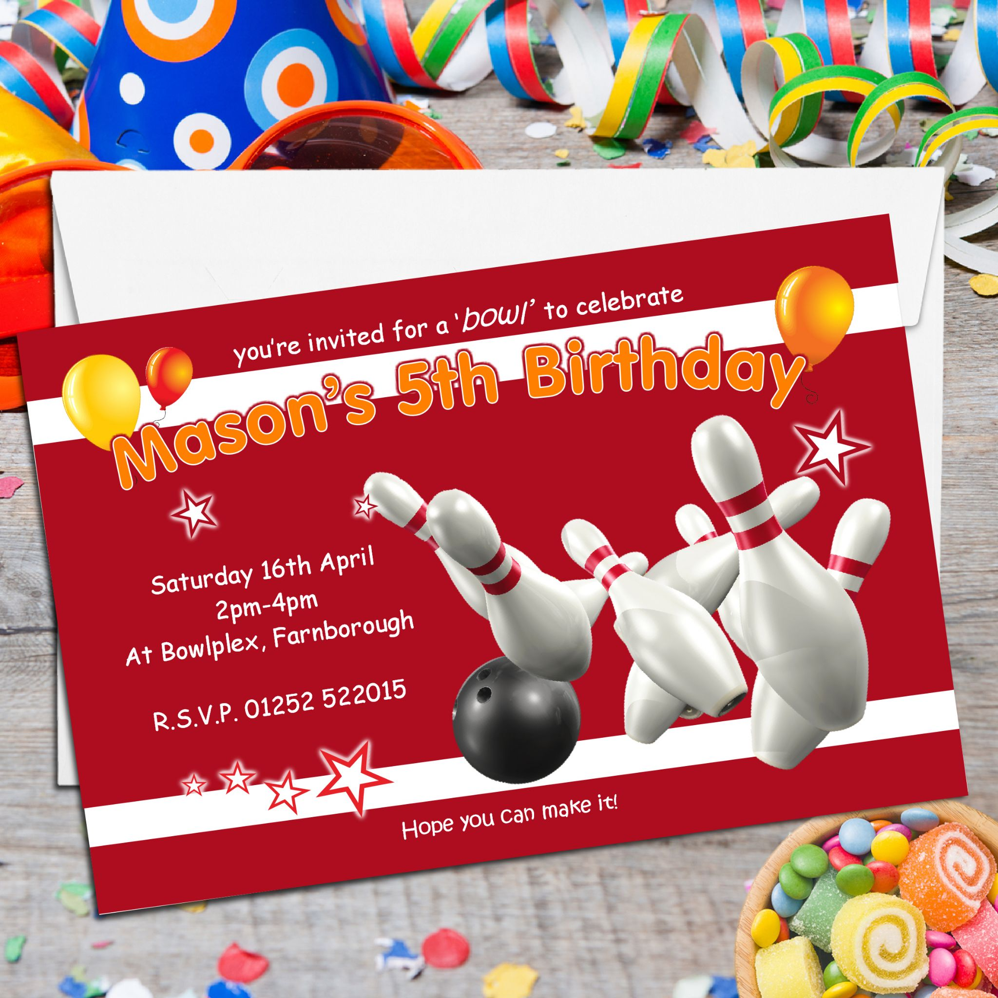 10 Personalised Ten Pin Bowling Birthday Party Invitations N122