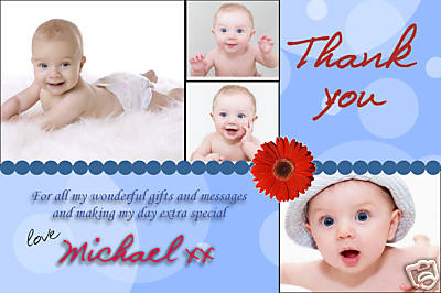 10 Personalised Thankyou PHOTO Cards No60