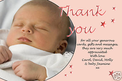 10 Personalised Thankyou PHOTO Cards No76