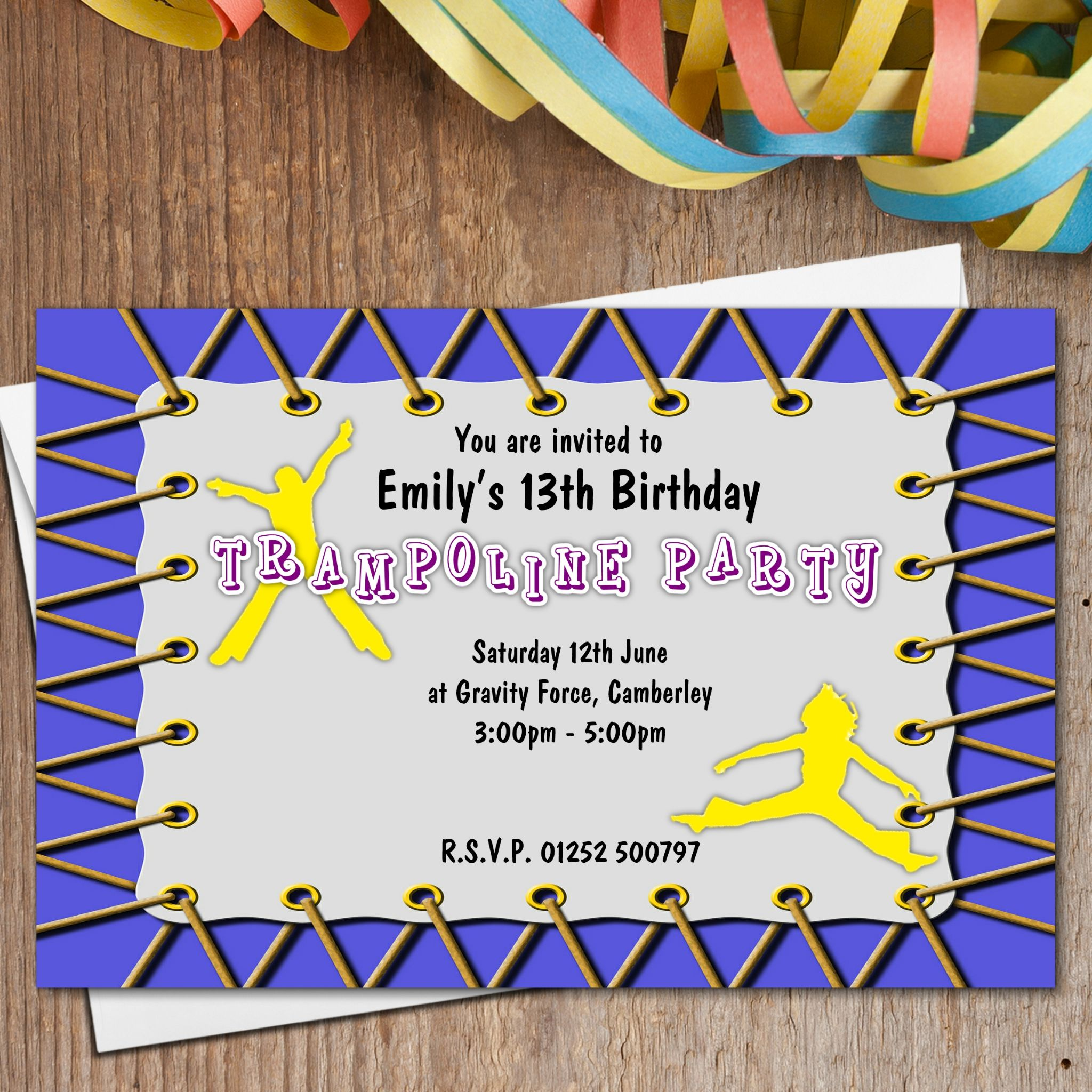10 Personalised Trampoline Birthday Party Invitations N189