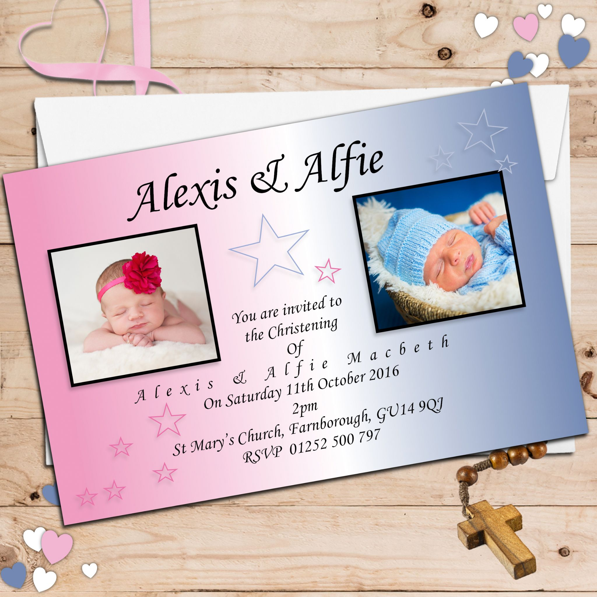 10 personalised twins joint baptism christening photo invitations n11