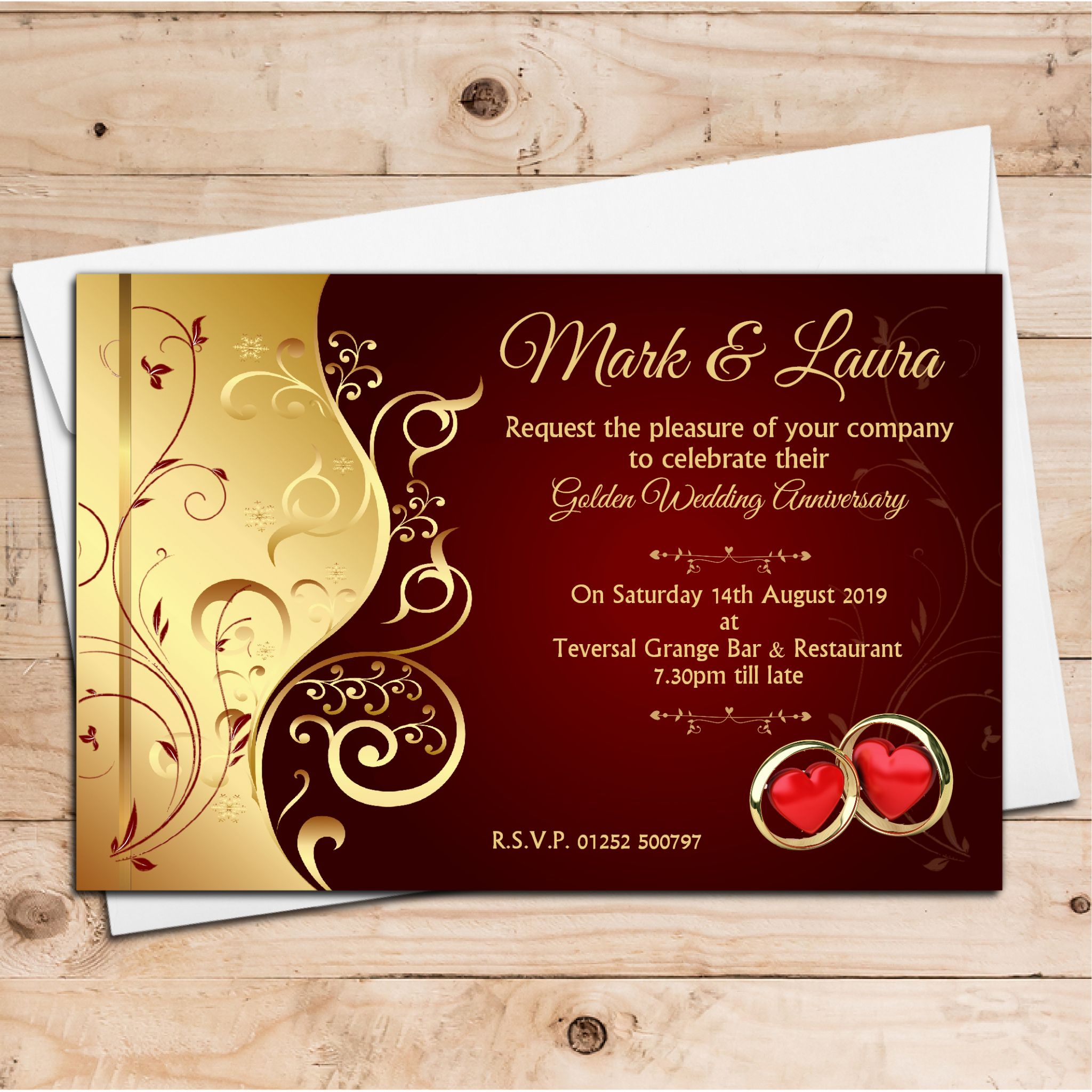 10 Personalised Wedding Anniversary Invitations N6 ANY YEAR