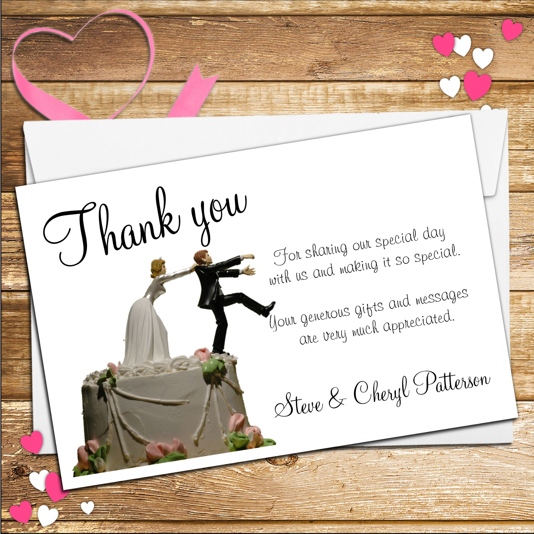 10 Personalised Wedding Bride Holding Groom Thank You Cards N37