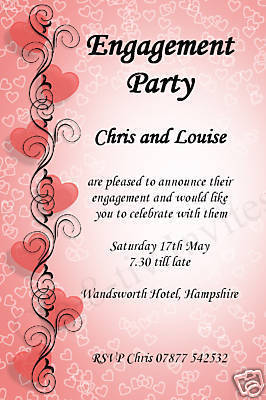 10 Personalised Wedding Engagement Party Invitations N2
