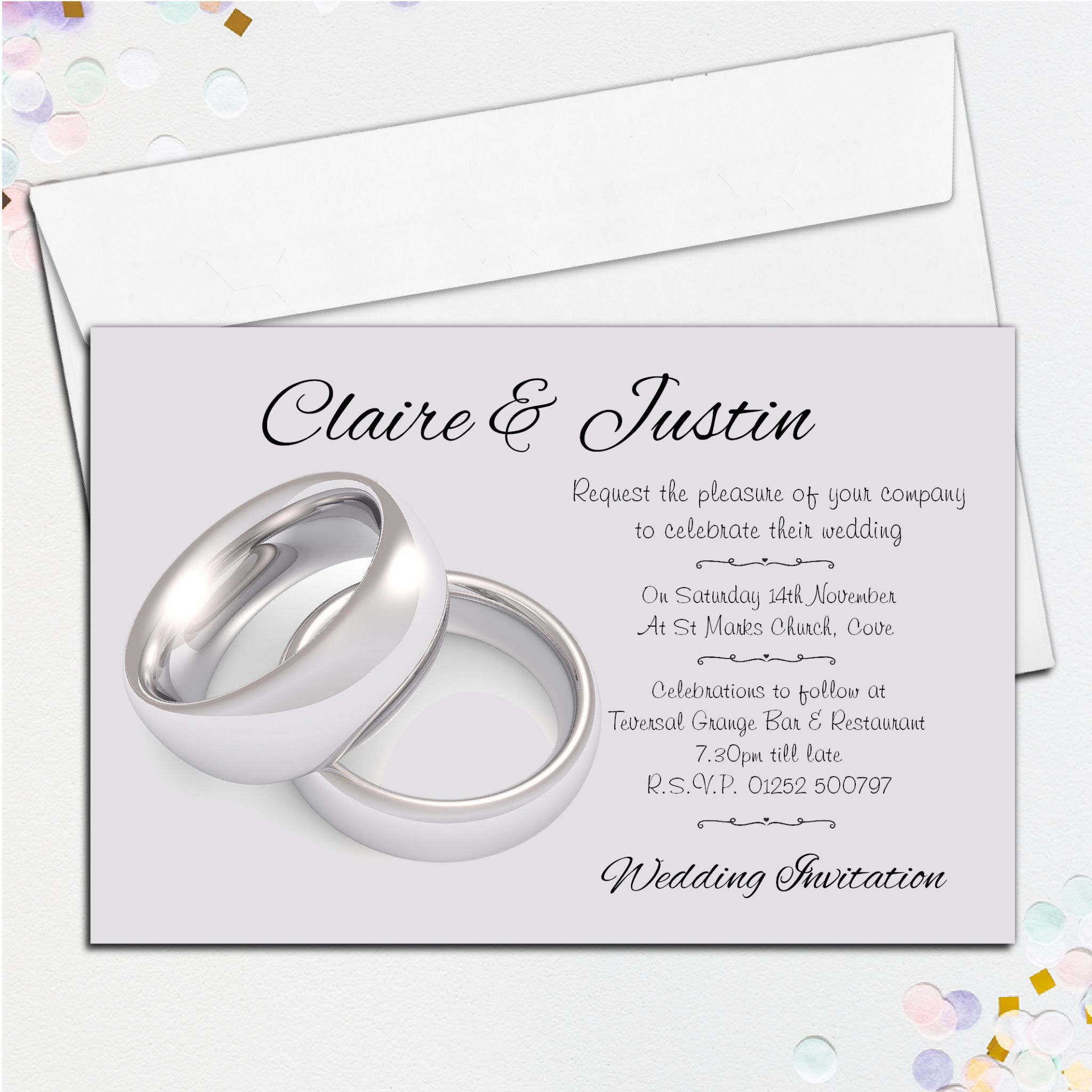 10 Personalised Wedding Silver Rings Invitations Day Evening N39