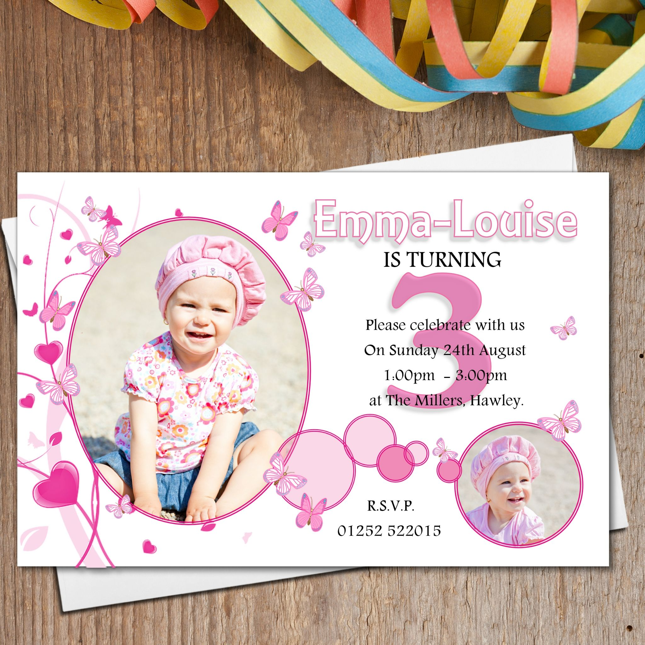 Pretty Pink Butterfly Birthday Party PHOTO Invitations N