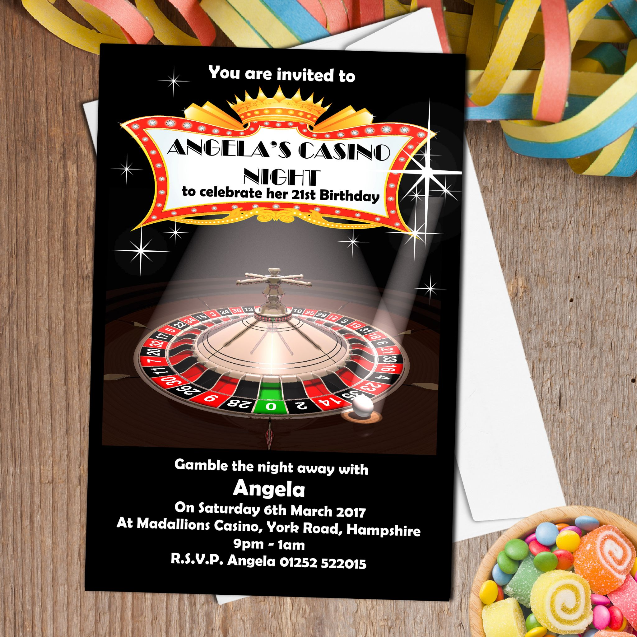 Personalised Casino Roulette Party Invitations N