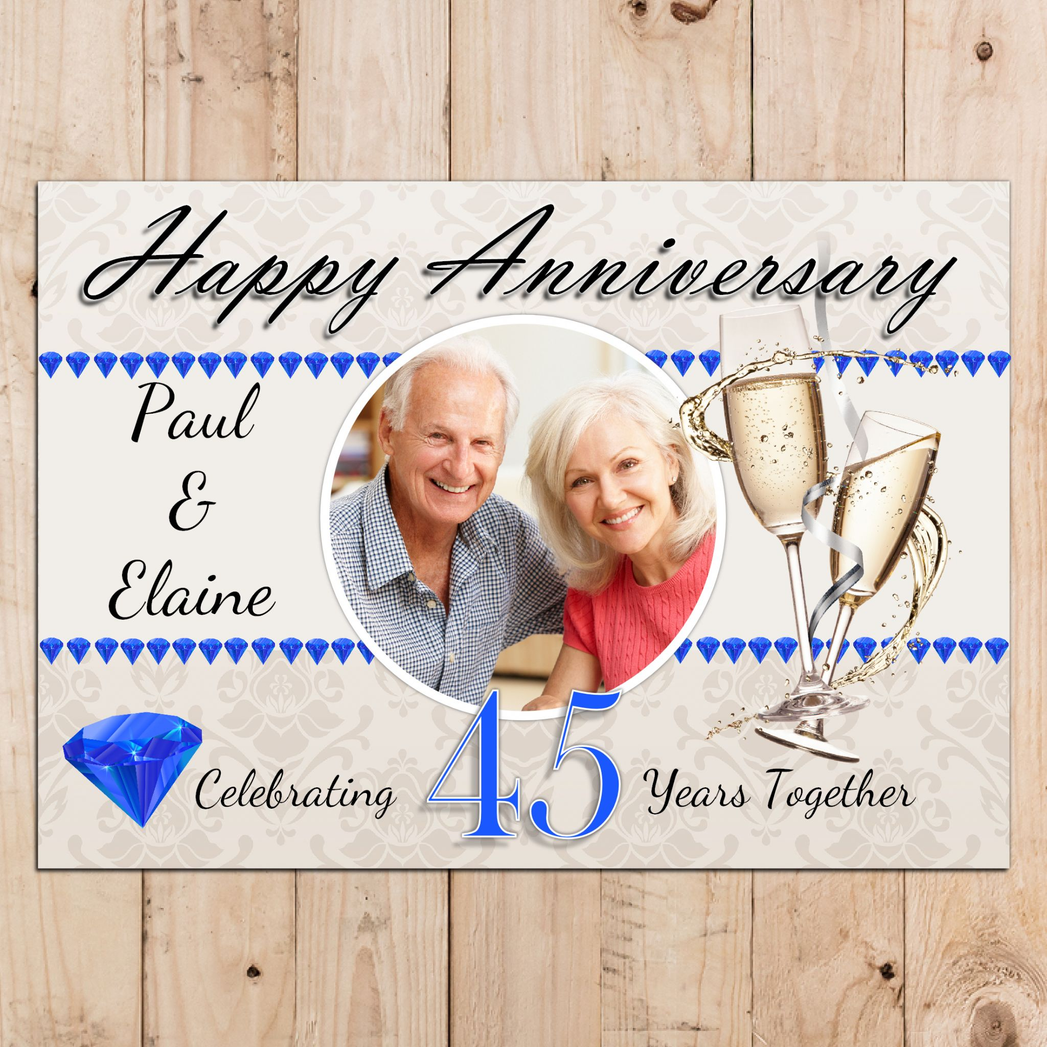 Personalised 45th Sapphire Wedding Anniversary Party Photo