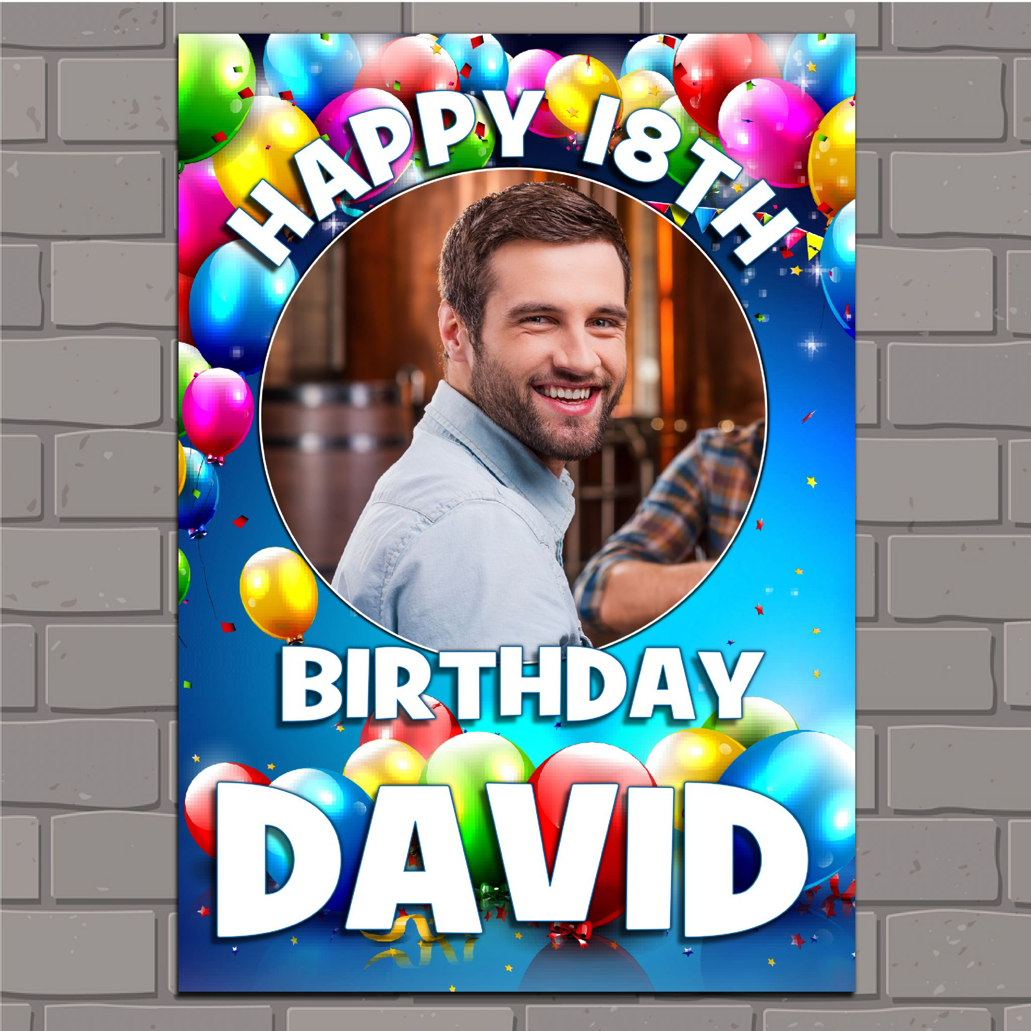 Personalised Birthday Balloons Party PHOTO Banner Poster