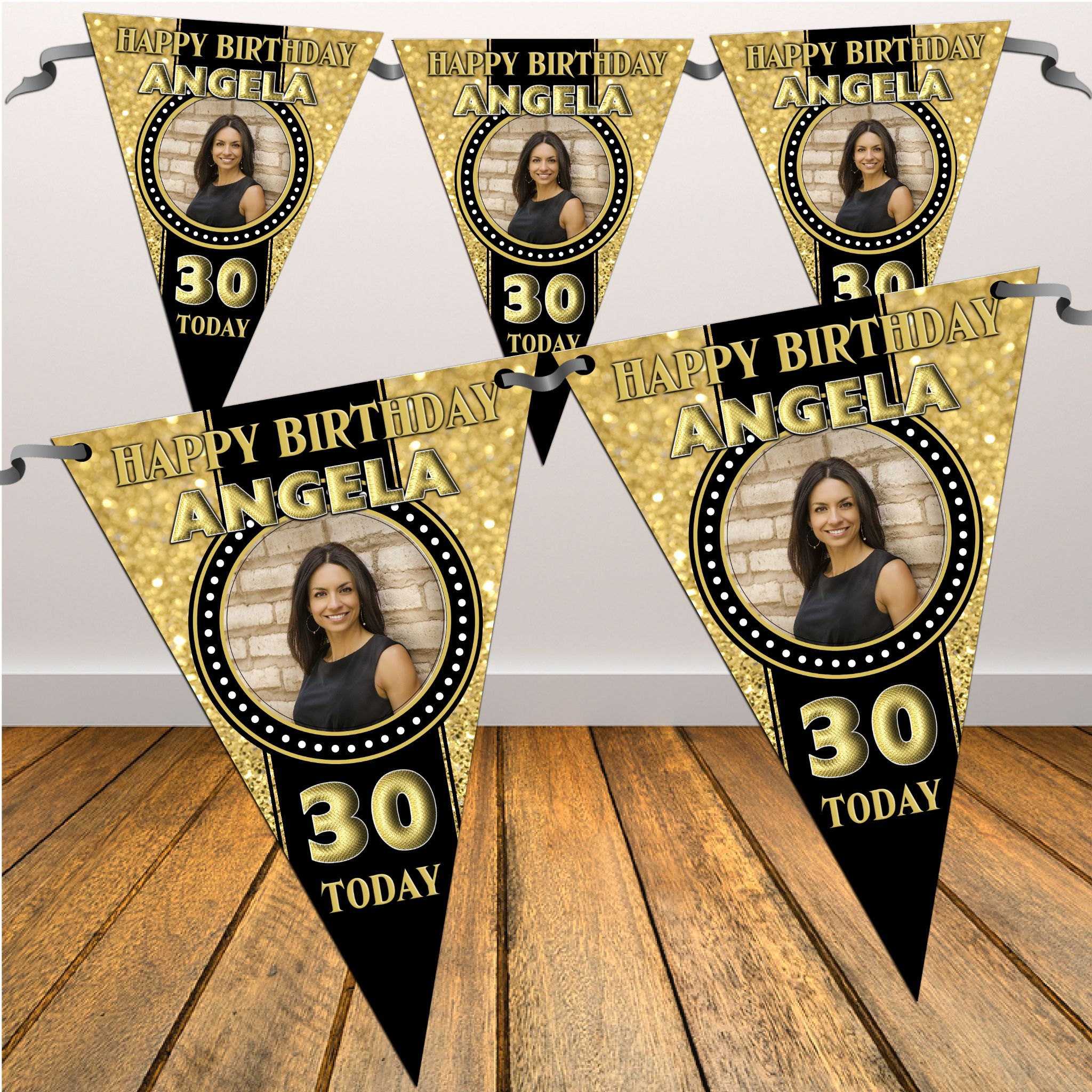 Personalised Black & Gold Happy 18th 21st 30th 40th