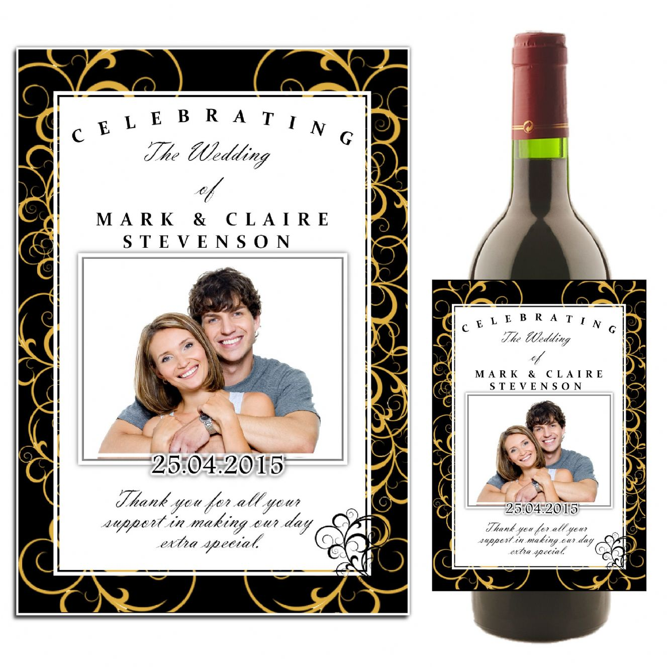 Personalised Black Gold Swirls Wedding Celebration Wine Champagne Bottle Photo Label N36
