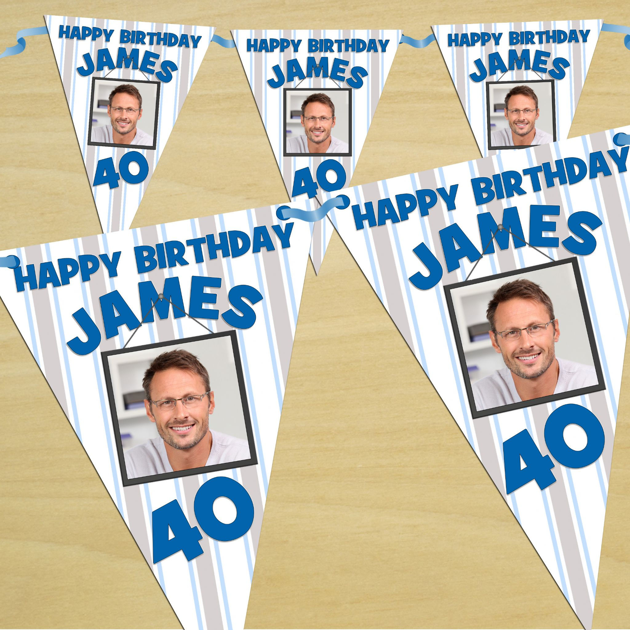 personalised blue stars happy birthday flag photo bunting banner  n42
