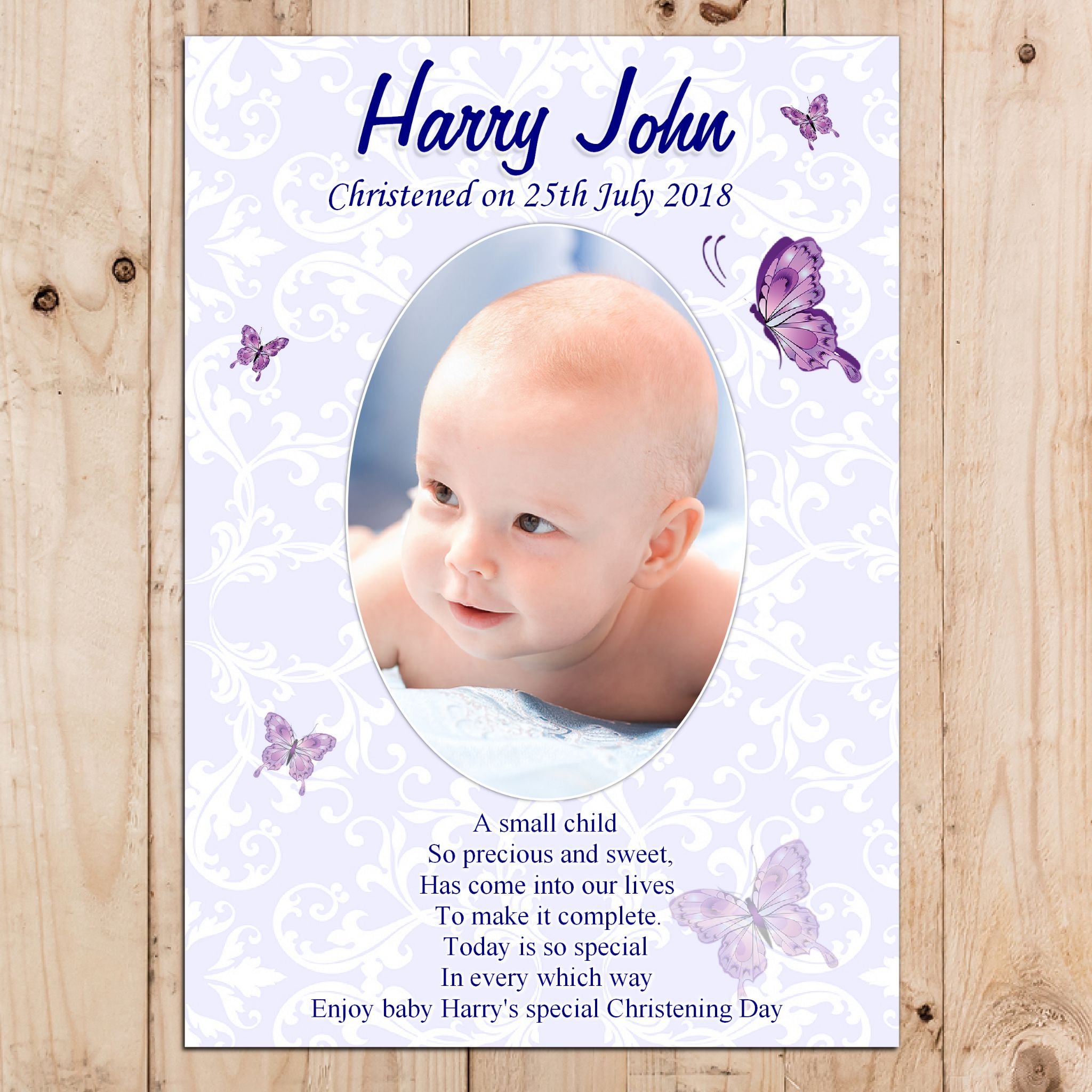 Personalised Boys Christening Butterfly Baptism