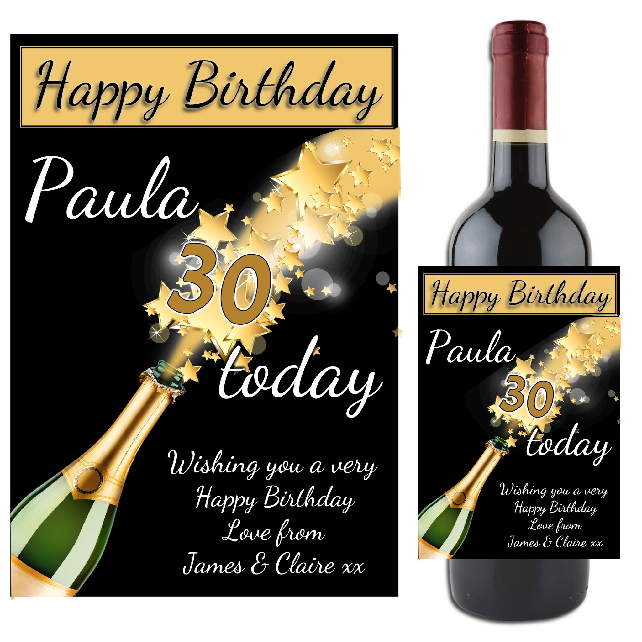 Message,Name Personalised Happy Birthday Champagne Bottle Sticker Label Any Age