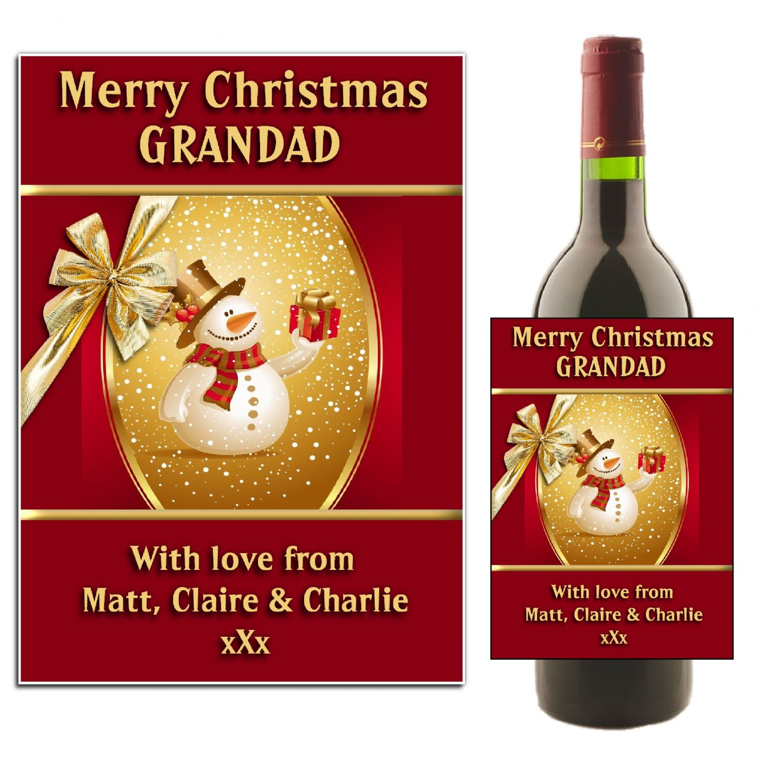 Personalised Christmas Snowman Wine Champagne Bottle Label N1 ...