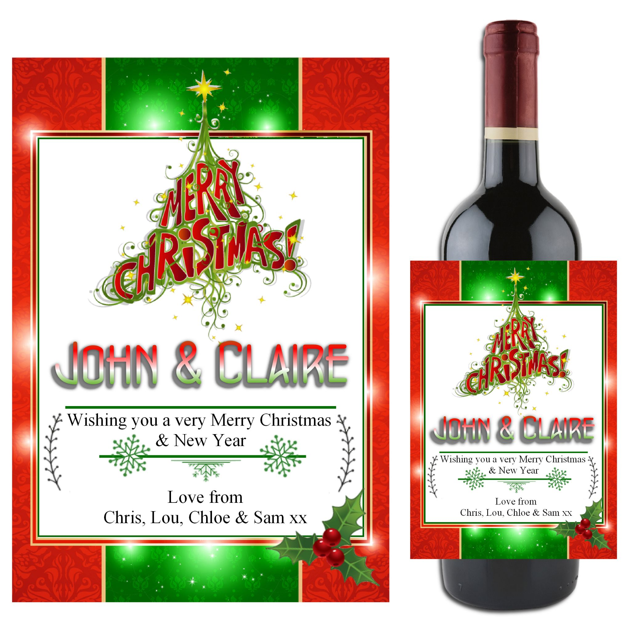 Personalised Christmas Tree Wine Champagne Bottle Label N80- Gift Idea