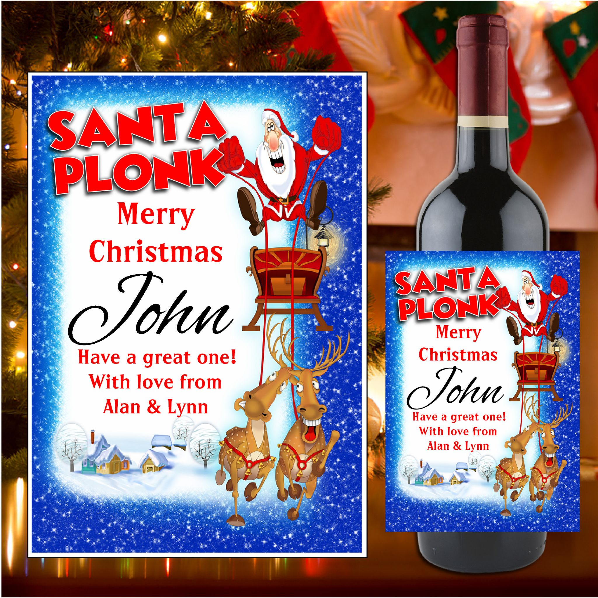 Personalised Christmas Wine Champagne Bottle Label N19
